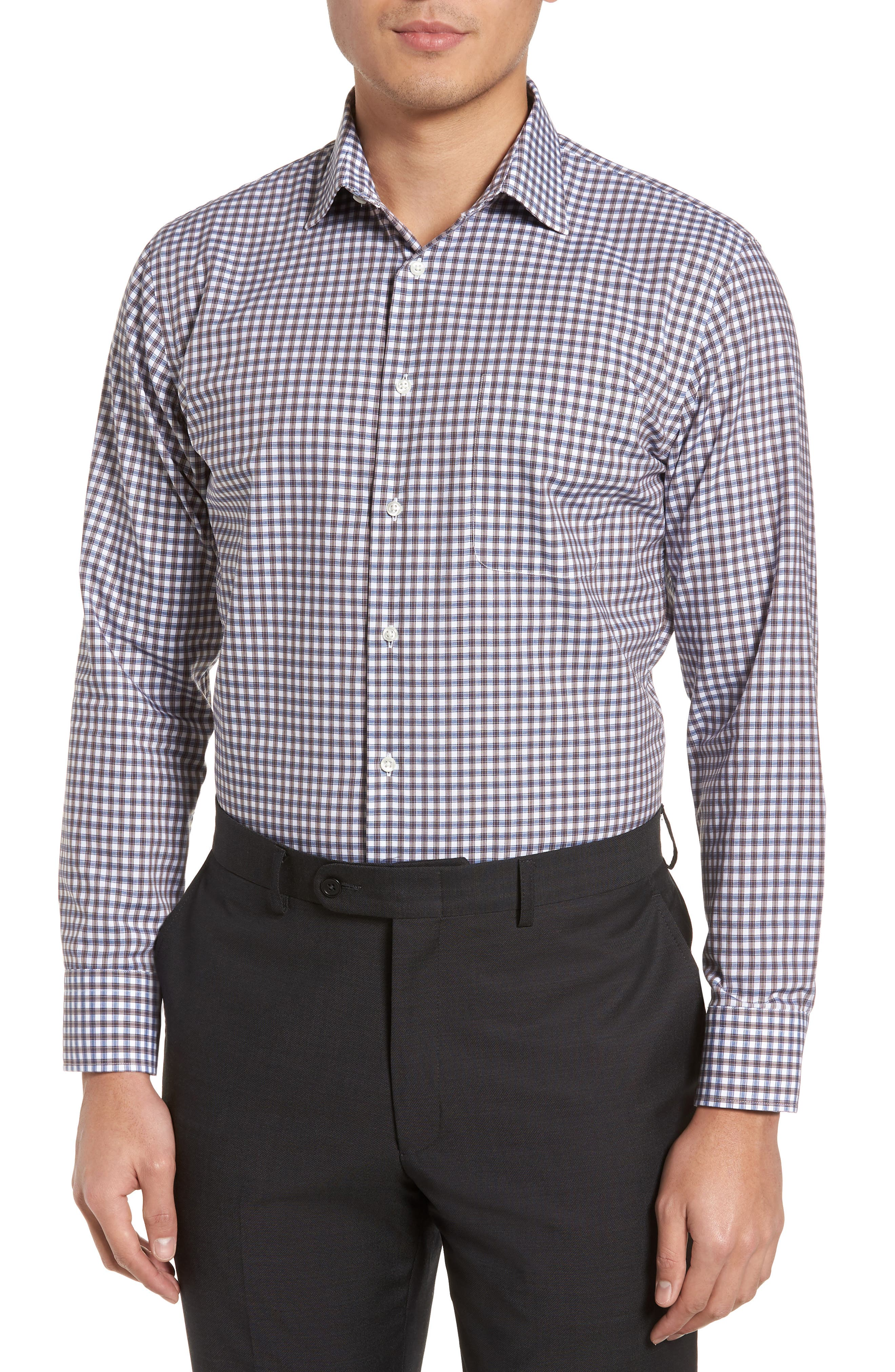 Trim Fit Non-Iron Check Dress Shirt,                         Main,                         color, Brown Earth