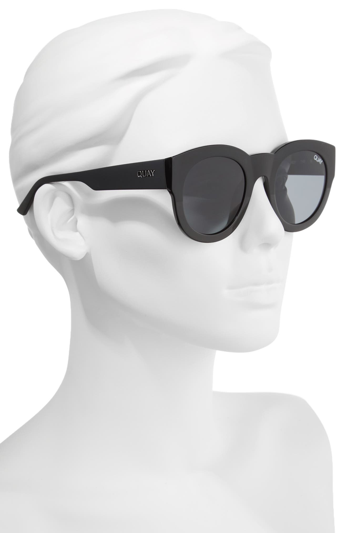 If Only 50mm Round Sunglasses,                             Alternate thumbnail 2, color,                             Black/ Smoke