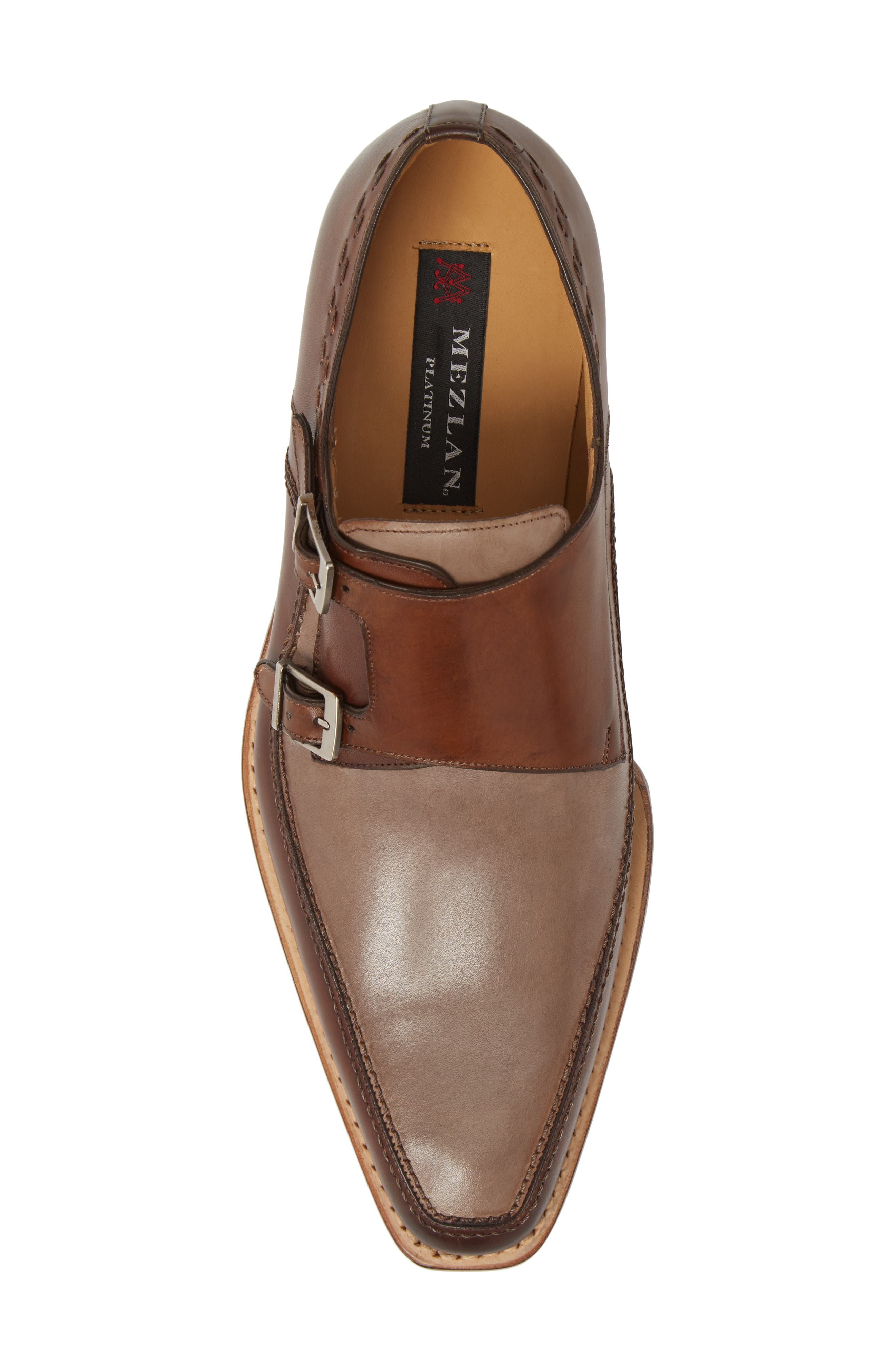 Magno Double Monk Strap Shoe,                             Alternate thumbnail 5, color,                             Brown Leather