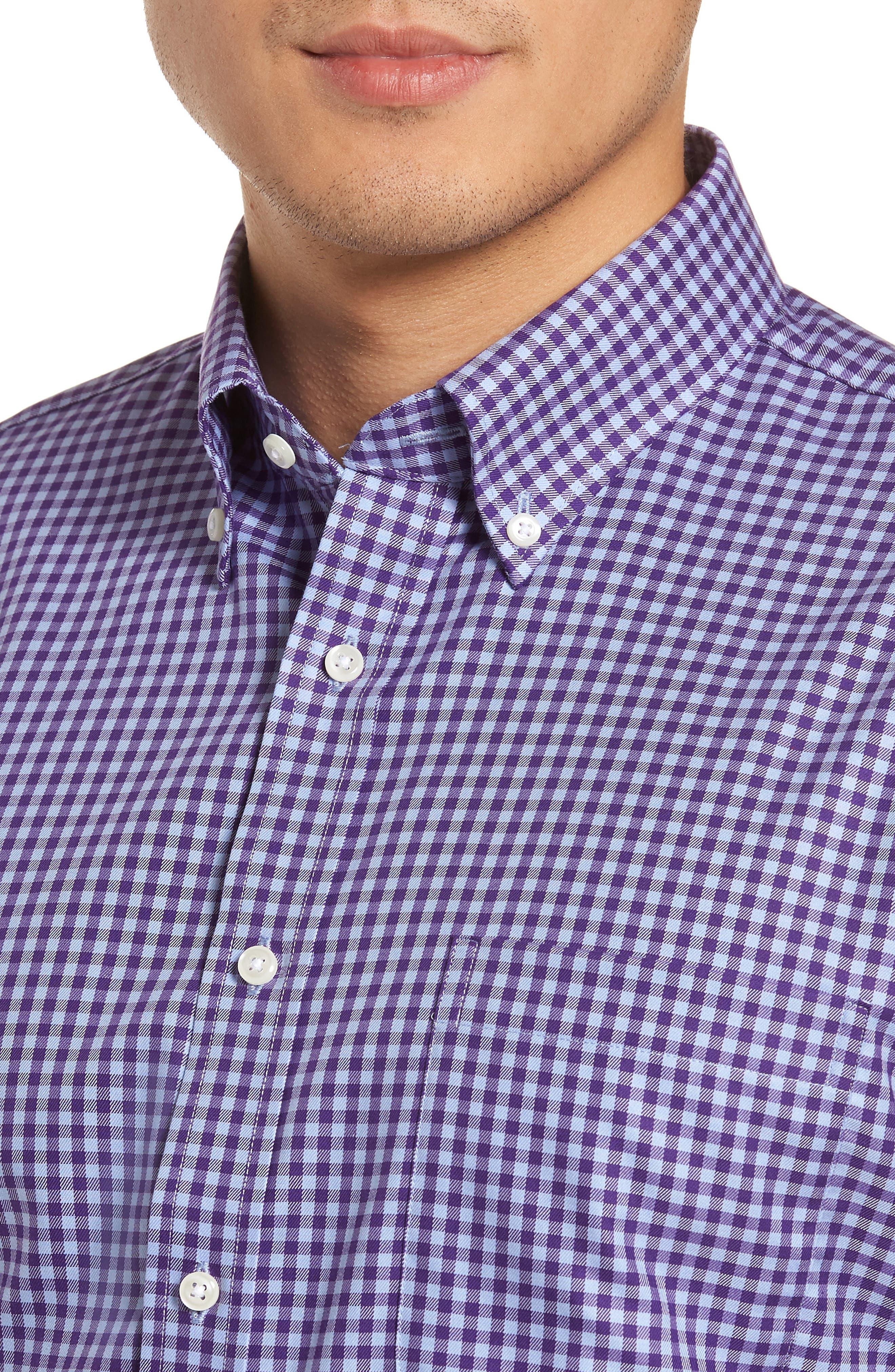 Alternate Image 4  - Nordstrom Men's Shop Trim Fit Non-Iron Gingham Dress Shirt