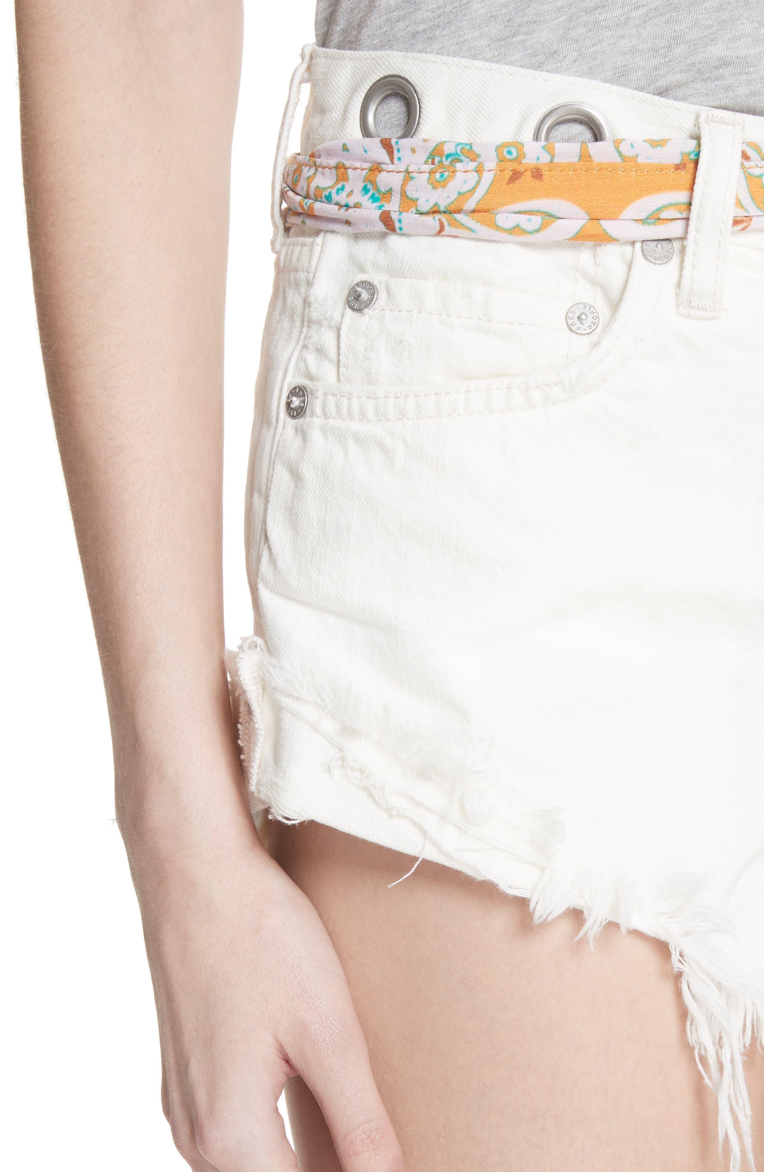 Cutoff Denim Shorts,                             Alternate thumbnail 4, color,                             White