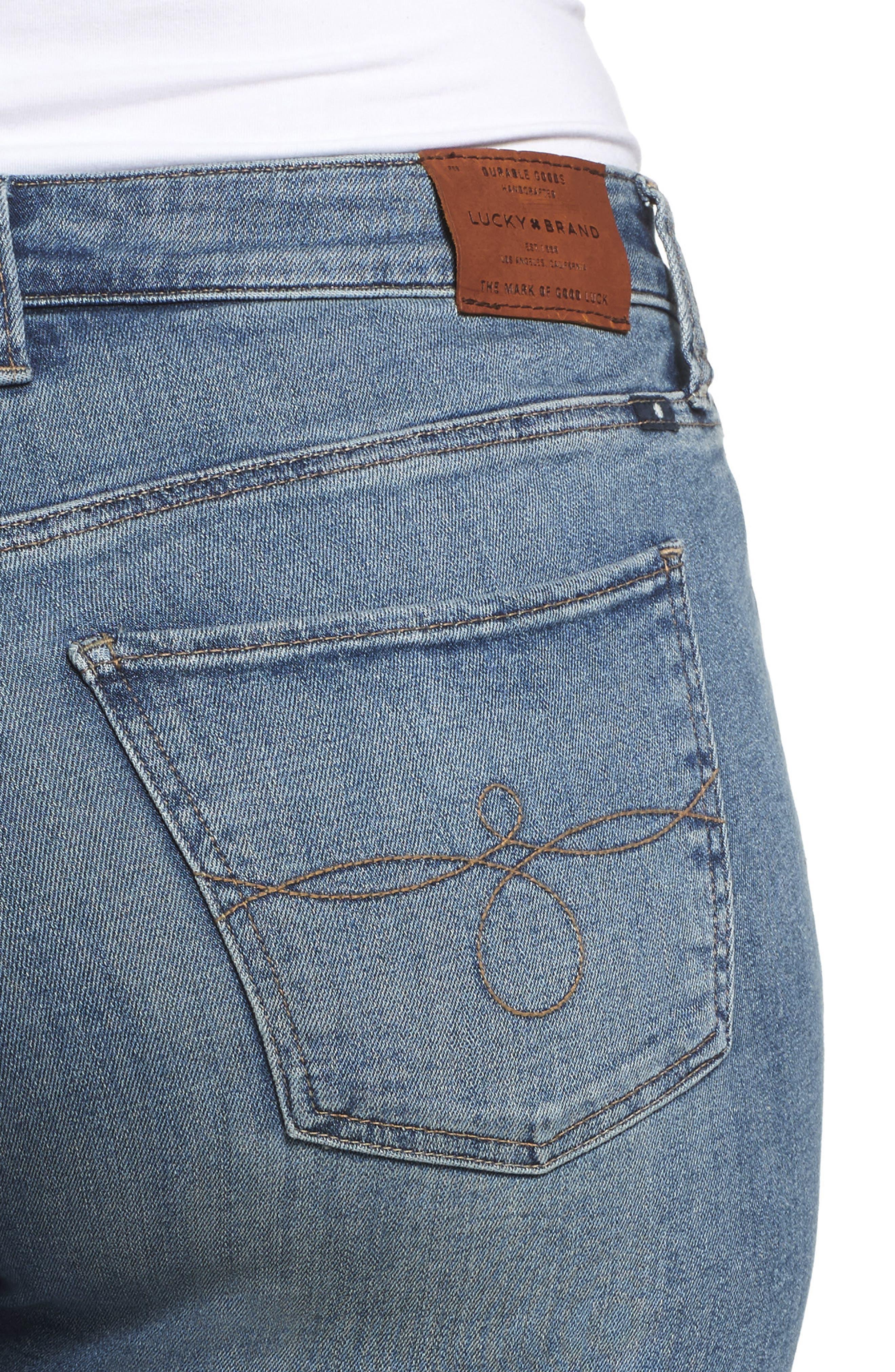 Ginger Fringed Hem Skinny Jeans,                             Alternate thumbnail 4, color,                             Thoreau-P