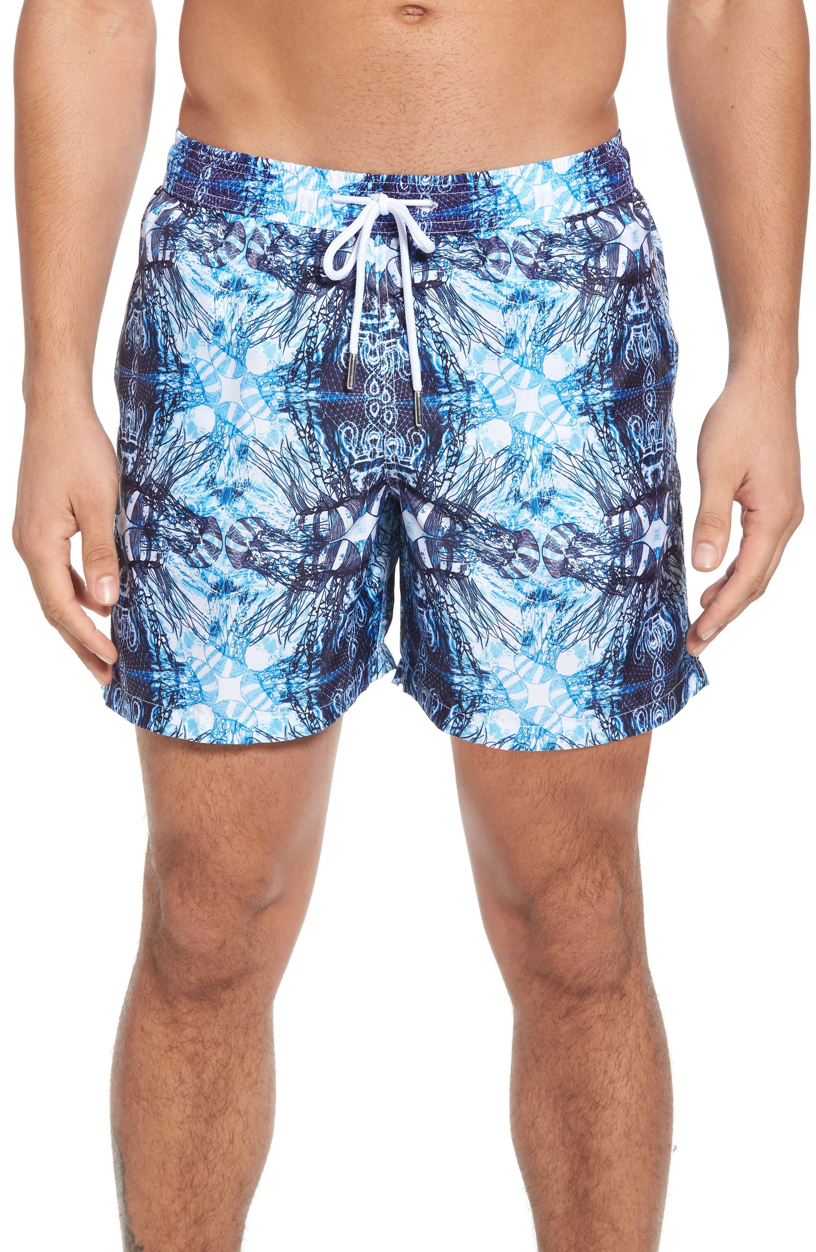 Trim Fit Swim Shorts,                             Main thumbnail 1, color,                             Light Blue Jelly Fish