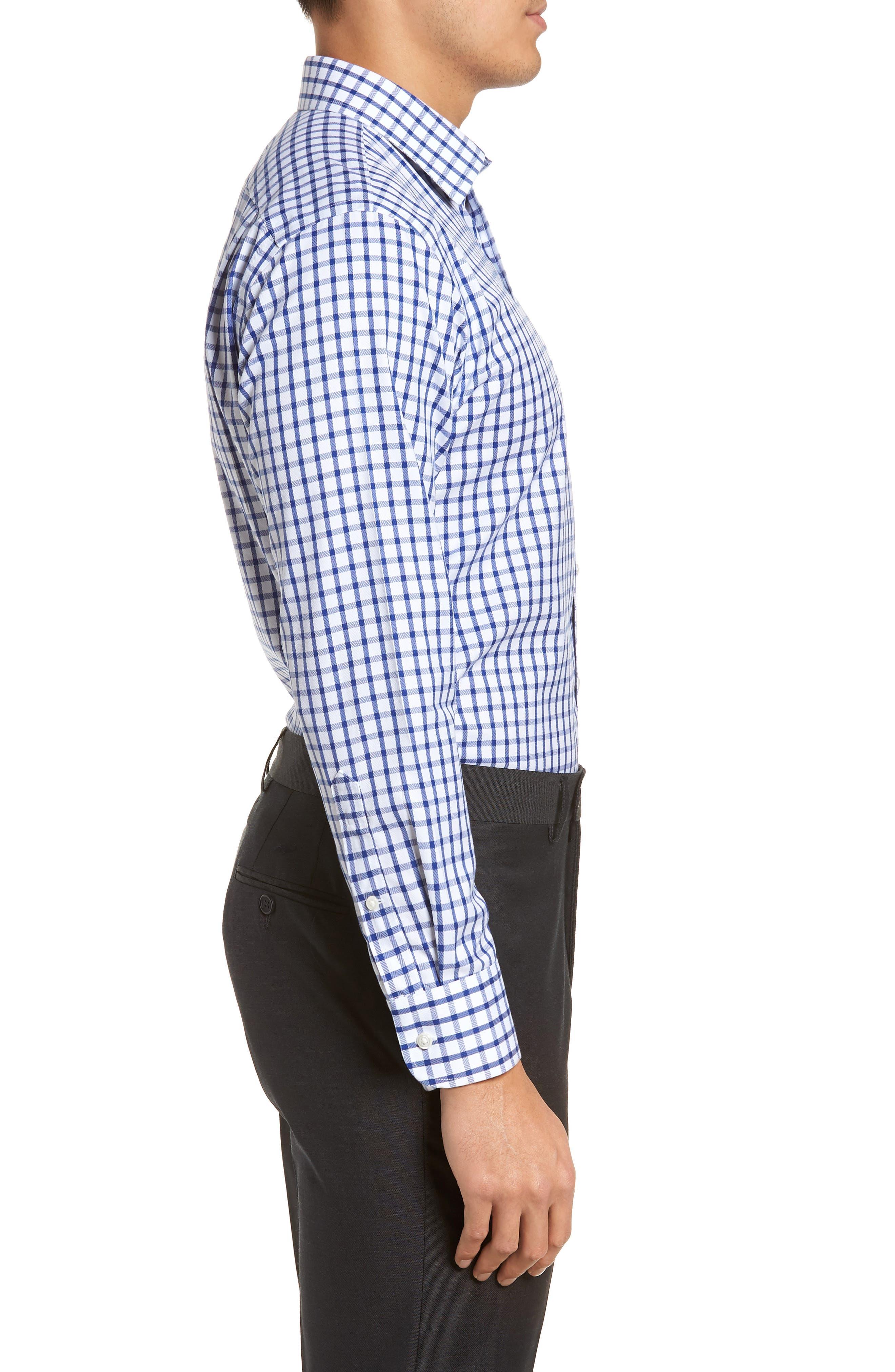 Smartcare<sup>™</sup> Trim Fit Check Dress Shirt,                             Alternate thumbnail 4, color,                             Blue Mazarine