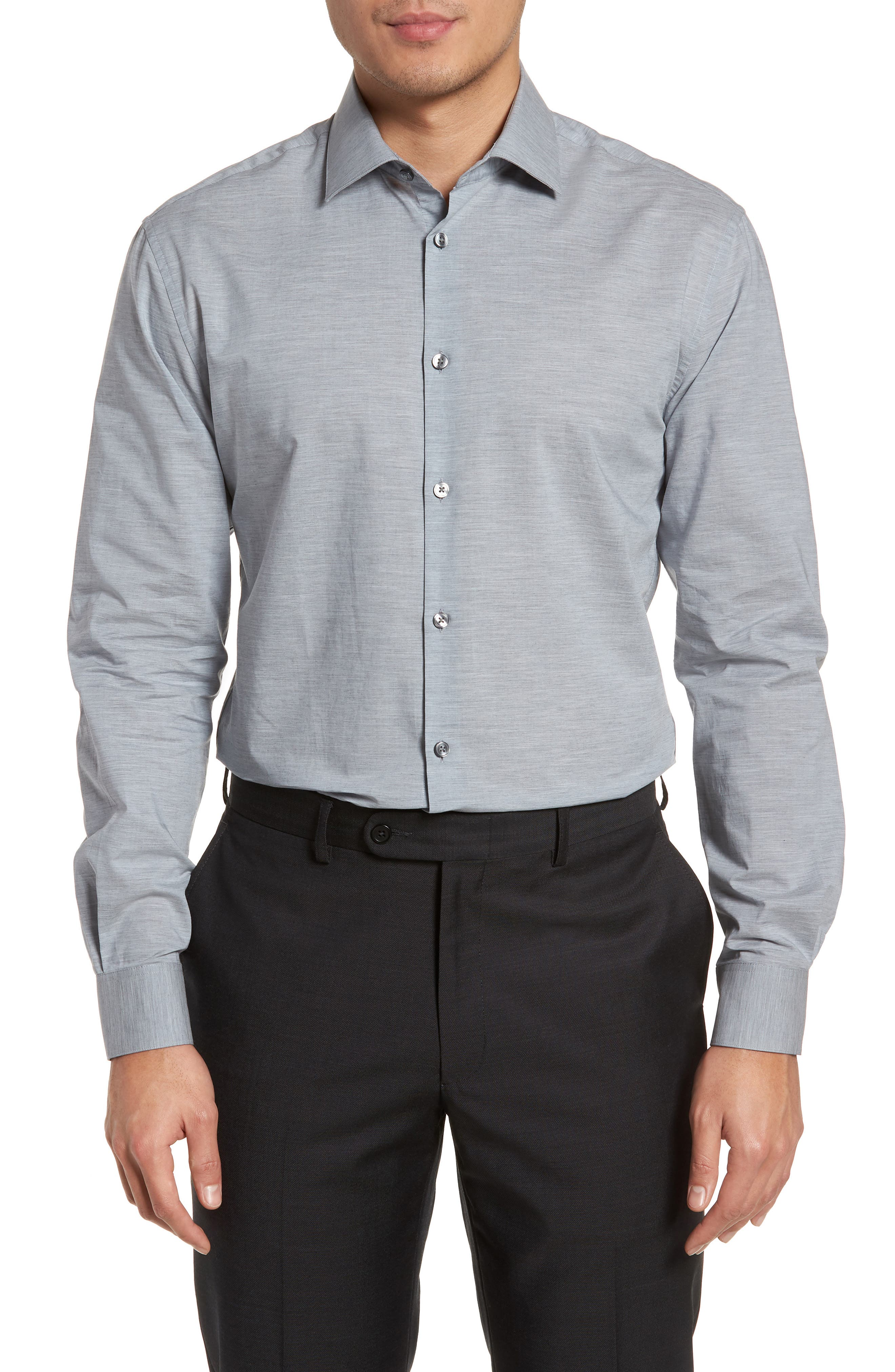 Slim Fit Stretch Solid Dress Shirt,                         Main,                         color, Heather