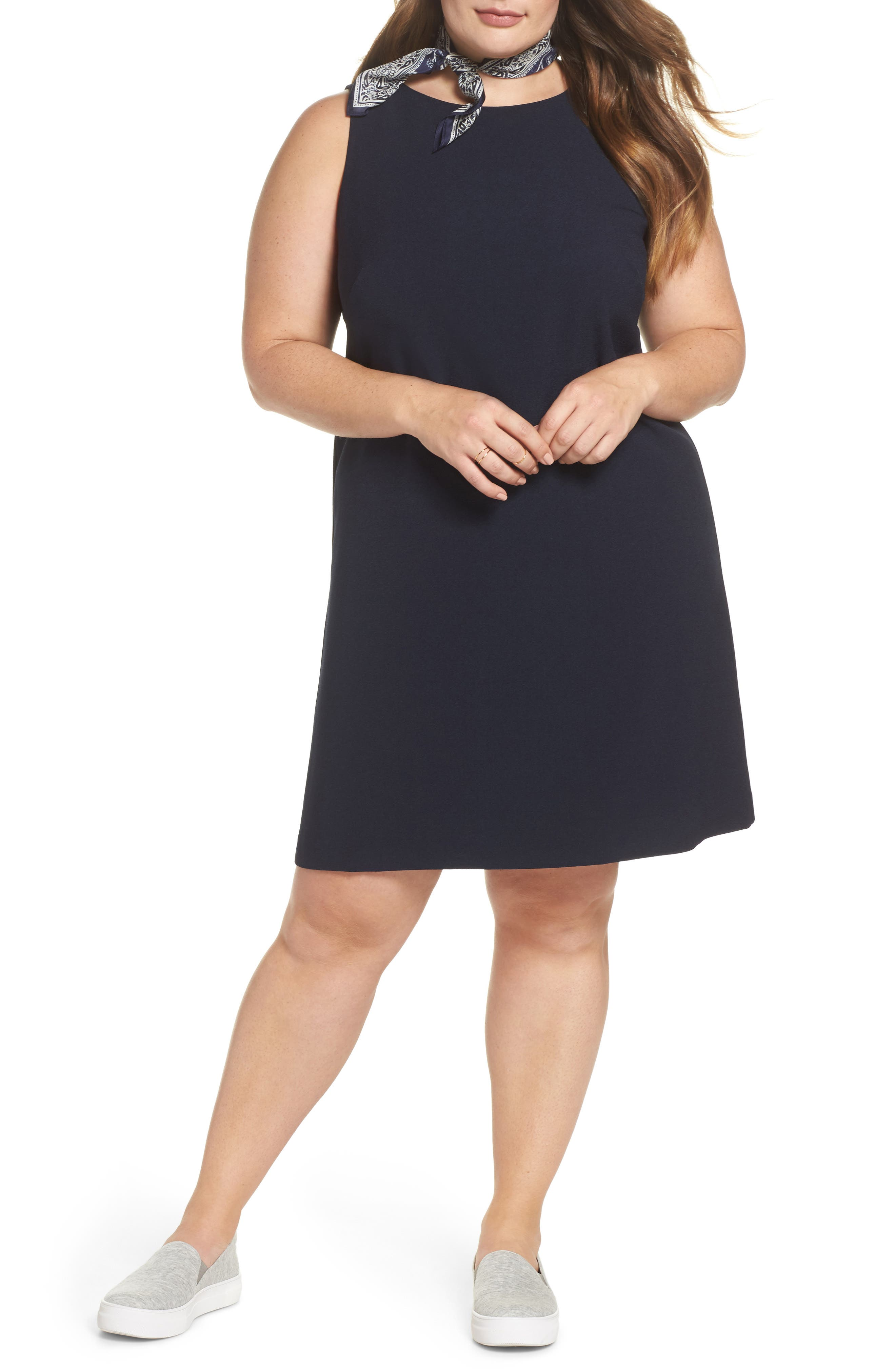 Bow Back Shift Dress,                             Main thumbnail 1, color,                             Navy