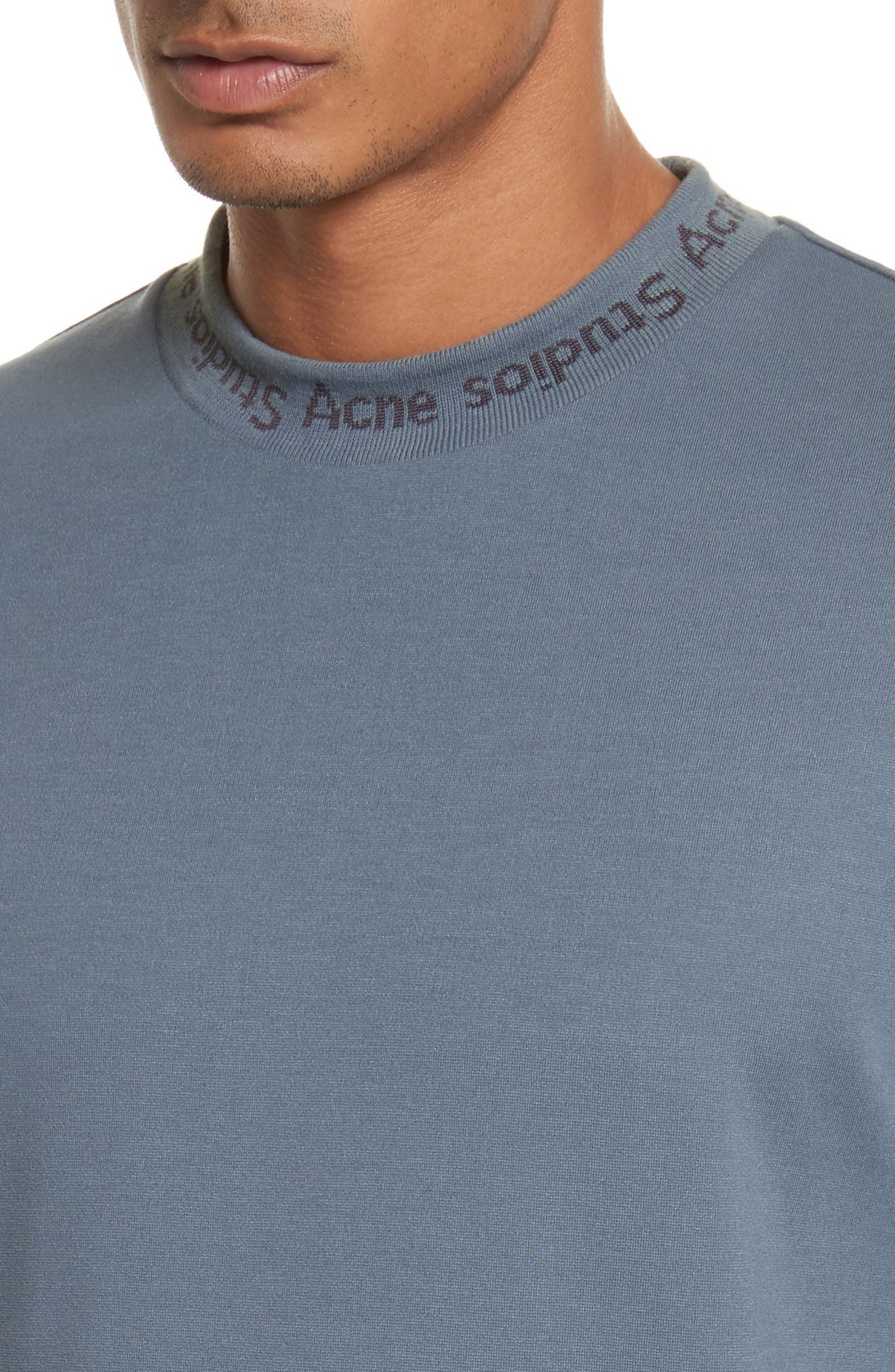 Navid Logo Collar T-Shirt,                             Alternate thumbnail 4, color,                             Pigeon Blue