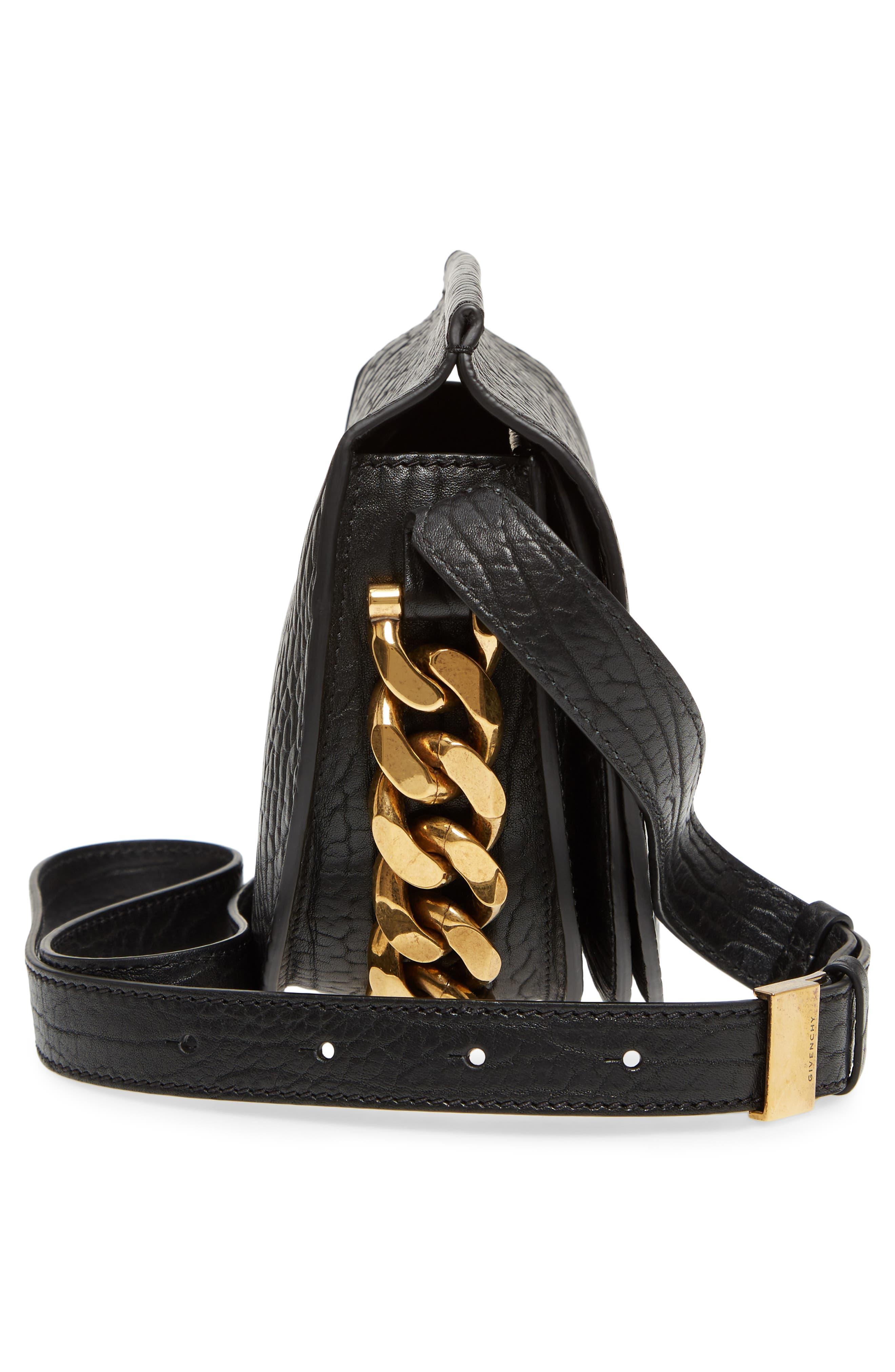 Infinity Calfskin Leather Saddle Bag,                             Alternate thumbnail 5, color,                             Black