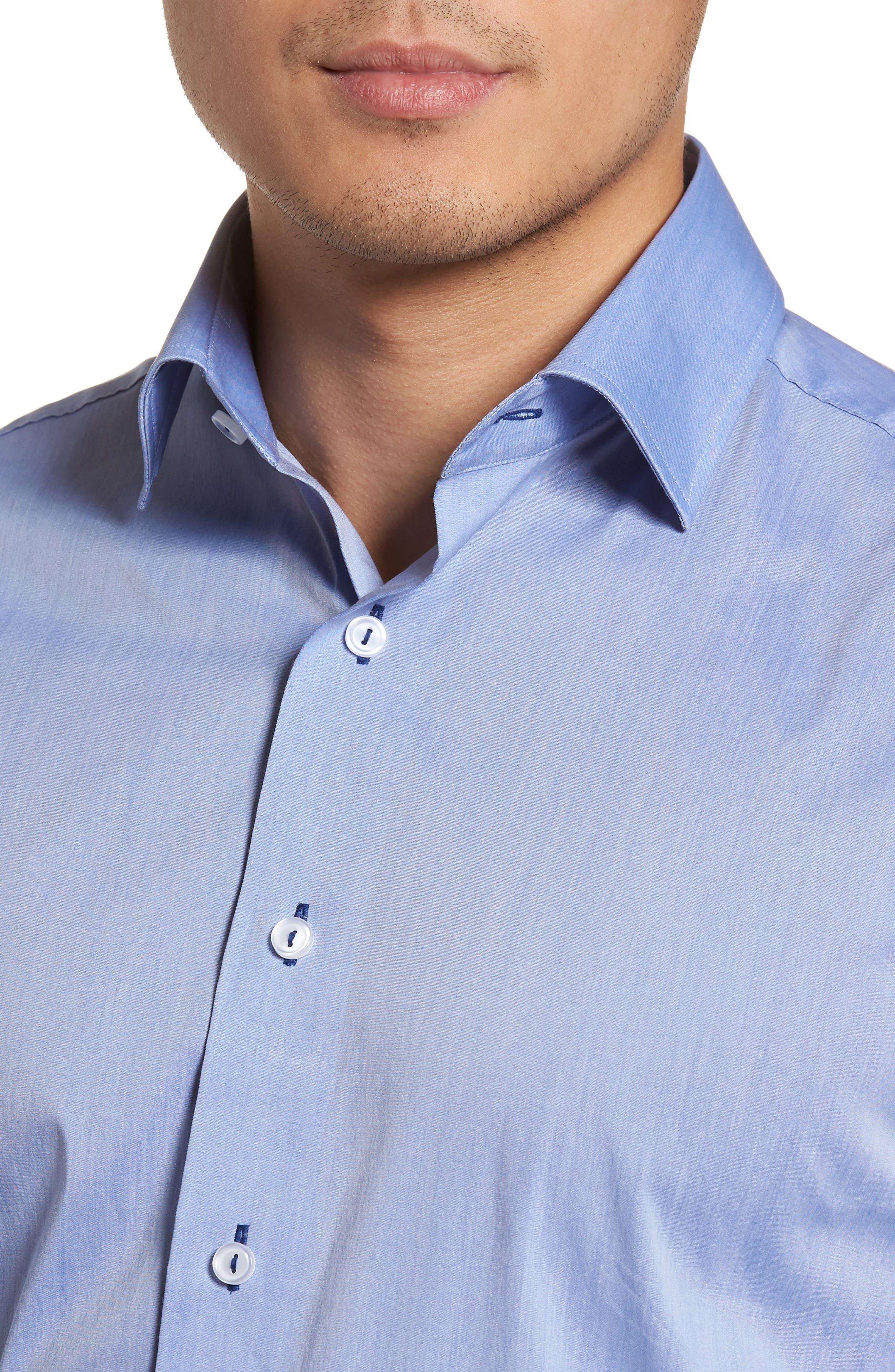 Trim Fit Dress Shirt,                             Alternate thumbnail 2, color,                             Blue