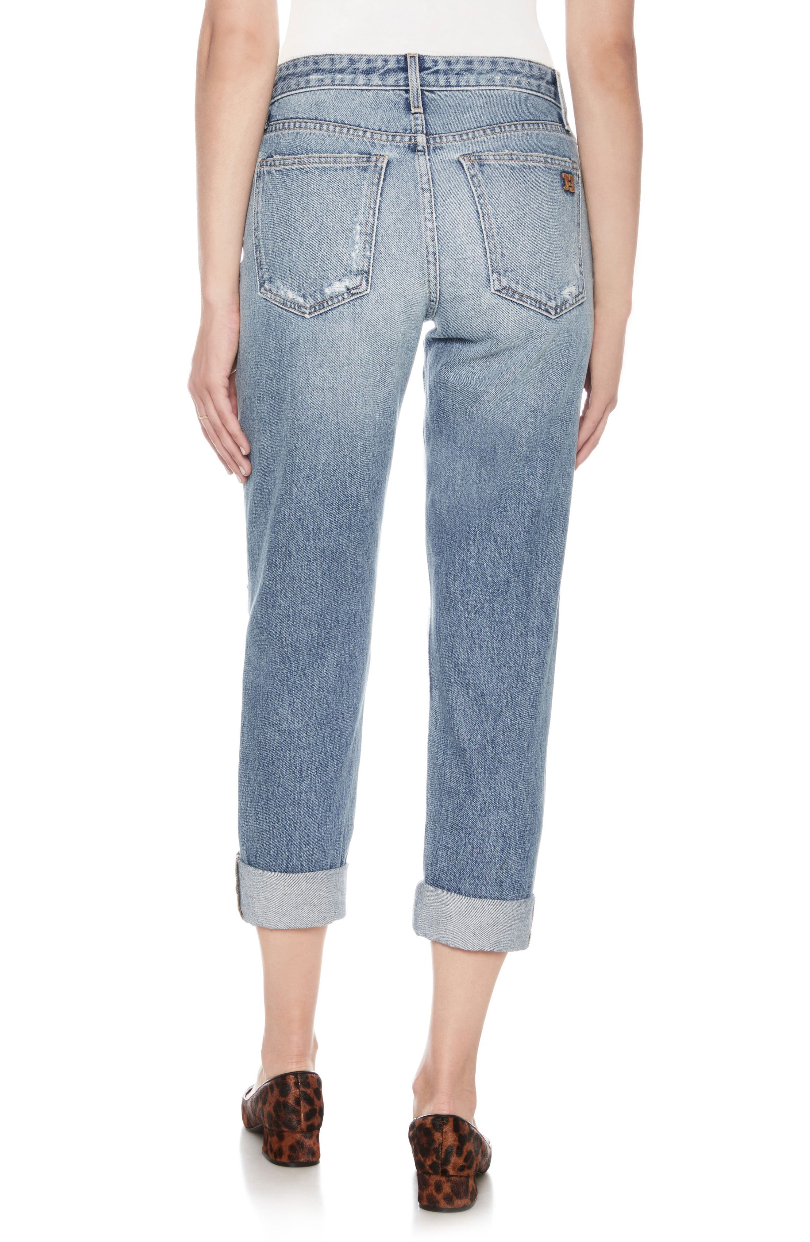 The Smith Distressed Crop Boyfriend Jeans,                             Alternate thumbnail 2, color,                             Weaver