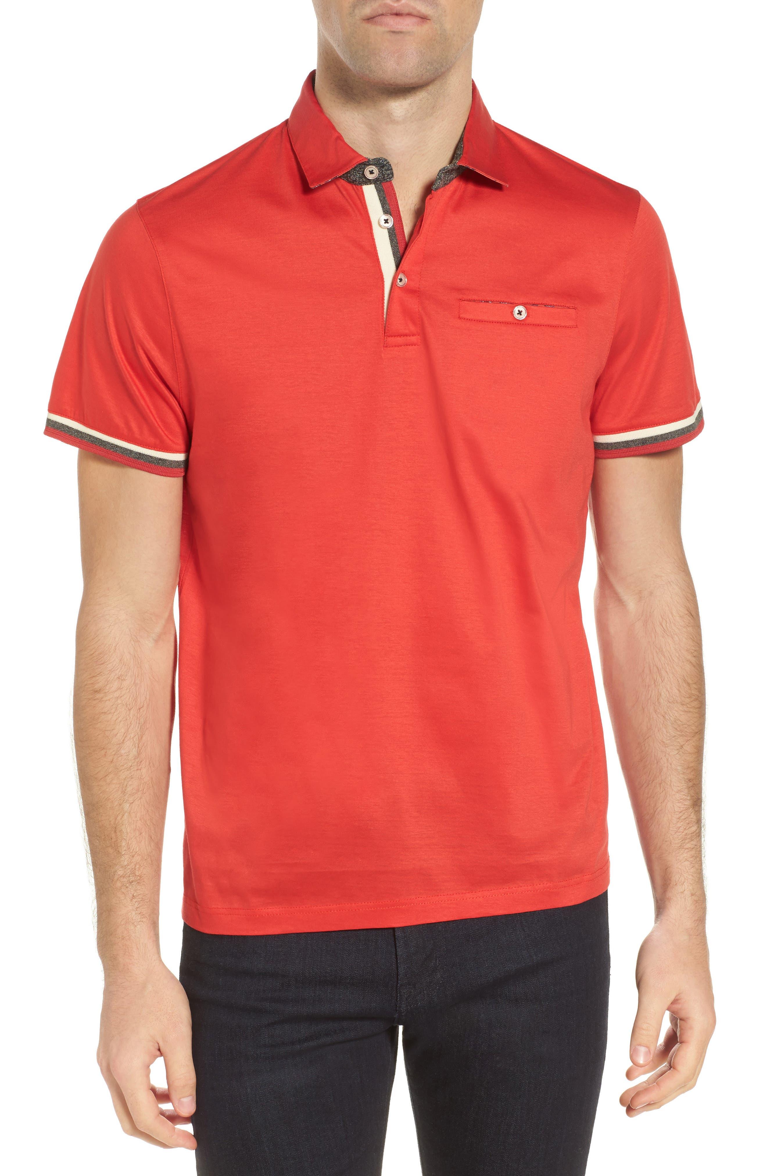 Puggltt Trim Fit Stripe Polo,                         Main,                         color, Coral
