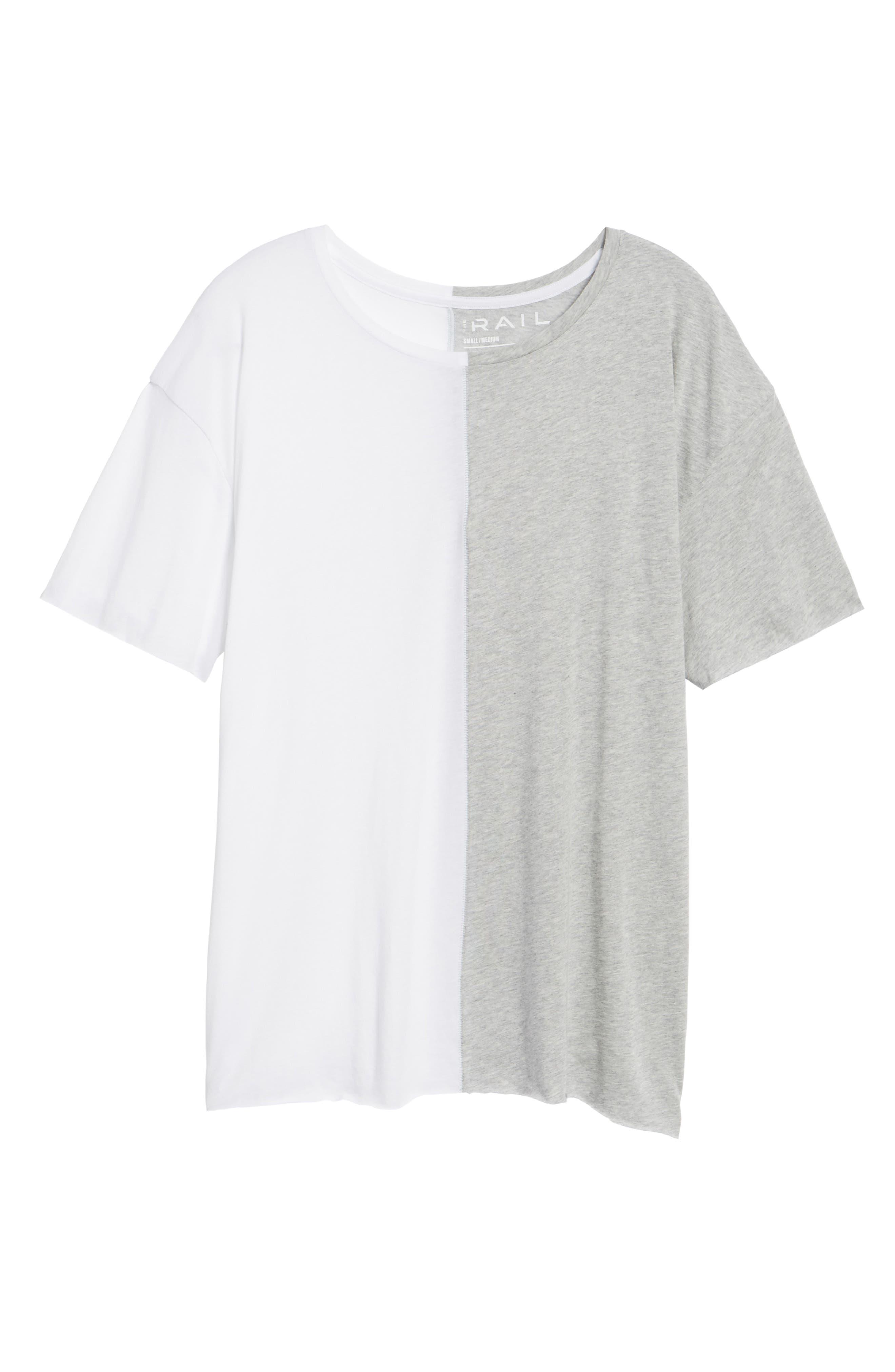 Boxy Splice T-Shirt,                             Alternate thumbnail 6, color,                             White/ Grey Heather