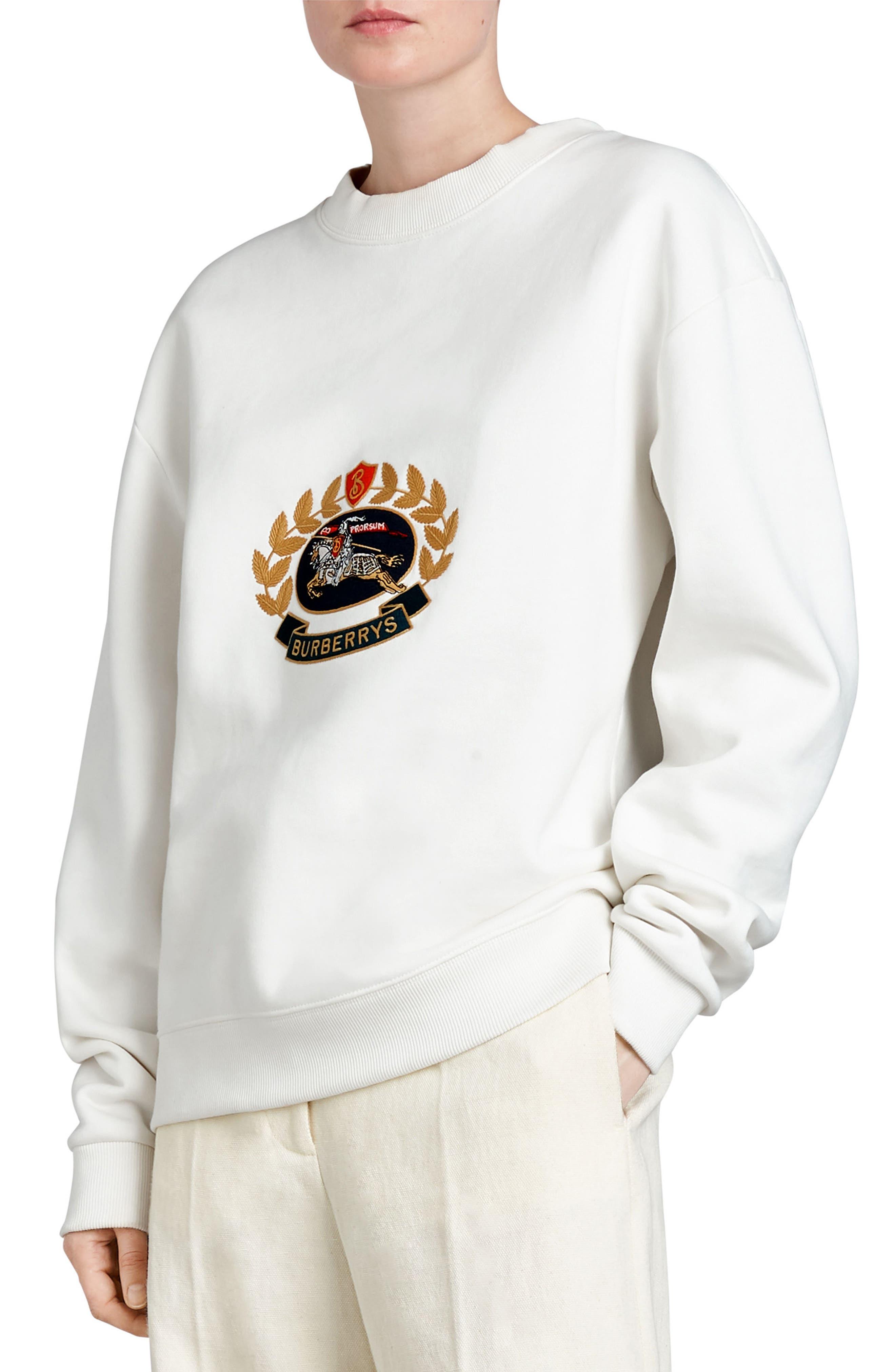 Vintage Crest Sweatshirt,                         Main,                         color, Off White