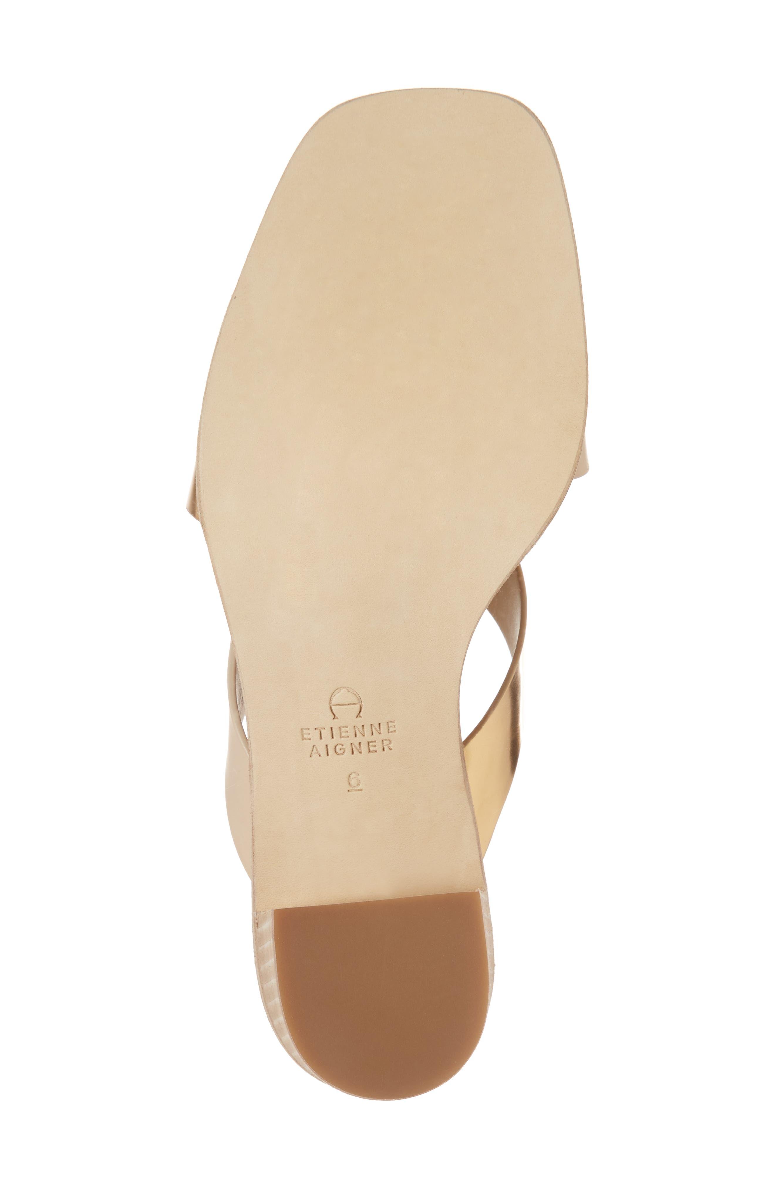 Negroni Cross Strap Mule Sandal,                             Alternate thumbnail 6, color,                             Natural/ Gold Leather