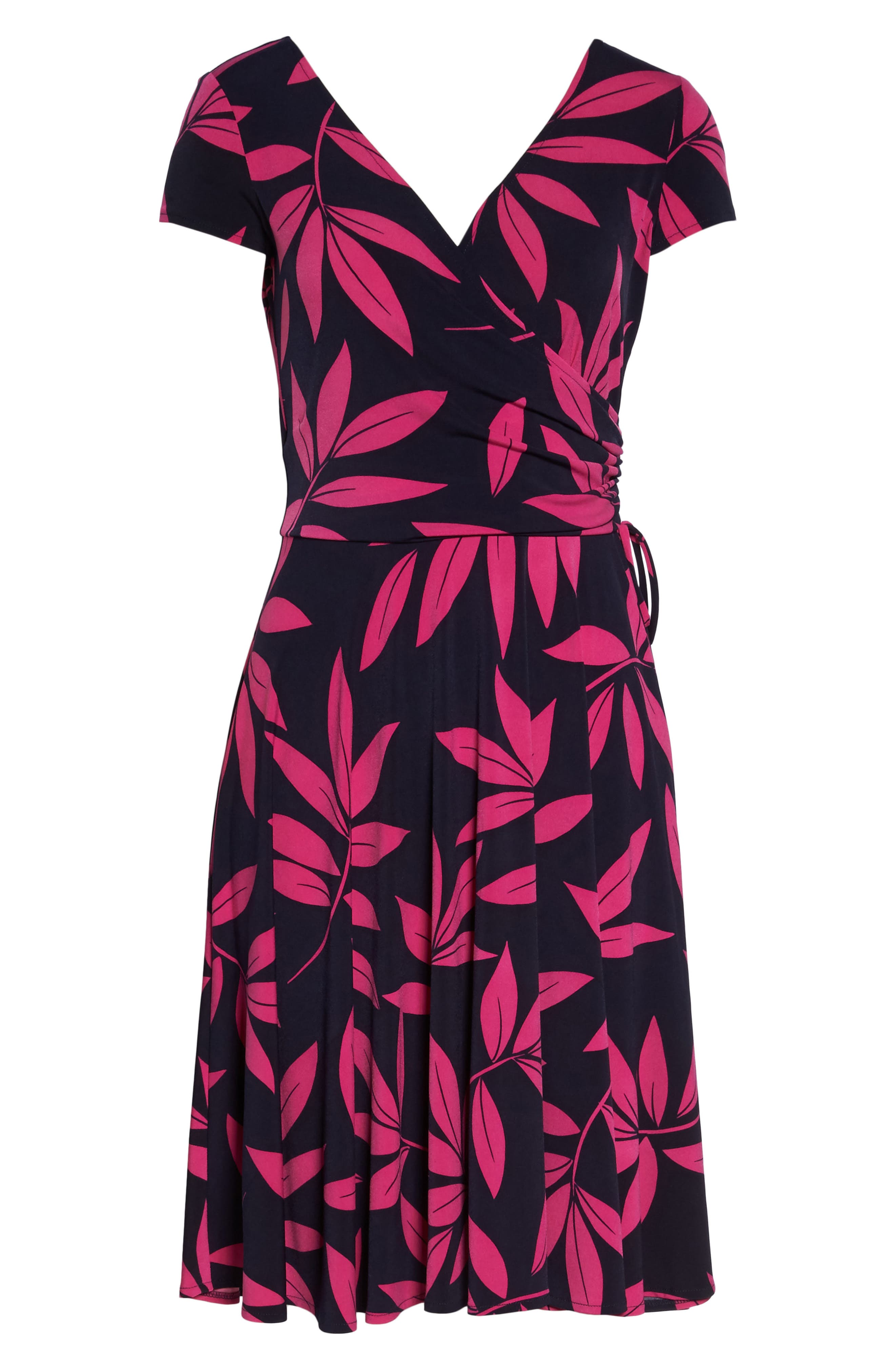 Leaf Print Faux Wrap Dress,                             Alternate thumbnail 6, color,                             Navy/ Pink Posie