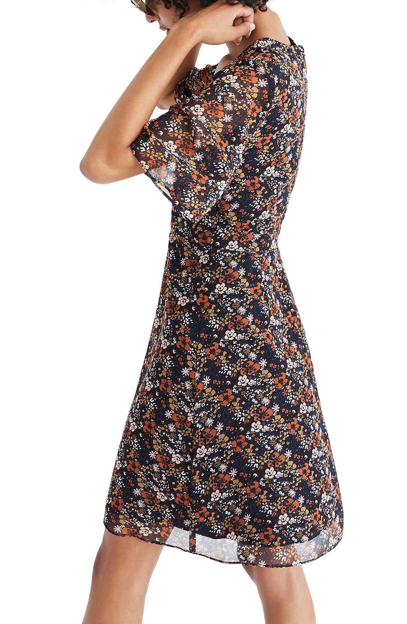 Orchard Flutter Sleeve Dress,                             Alternate thumbnail 2, color,                             Woodland Warm Nutmeg