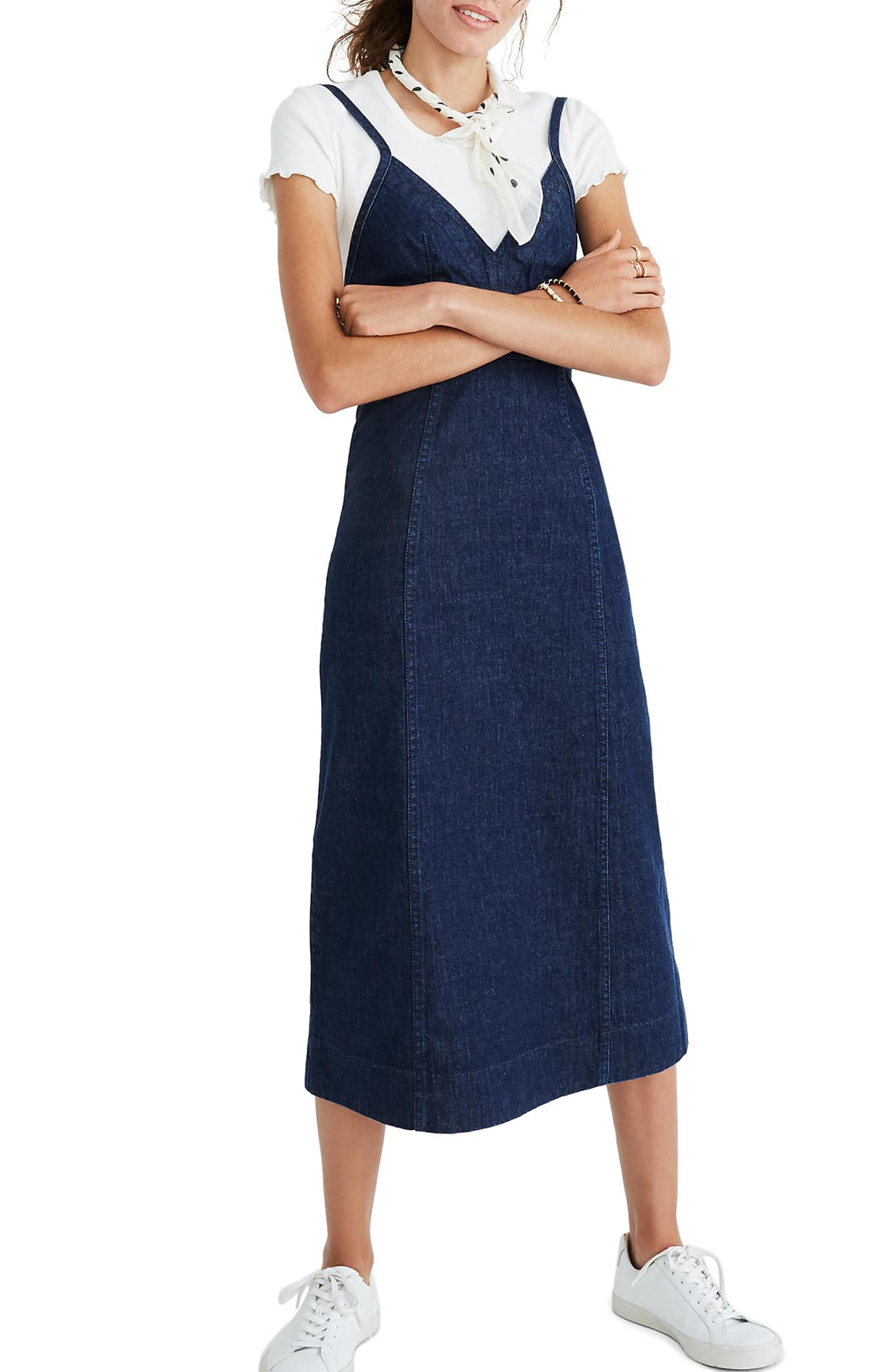 Denim Camisole Midi Dress,                             Main thumbnail 1, color,                             Candice Wash