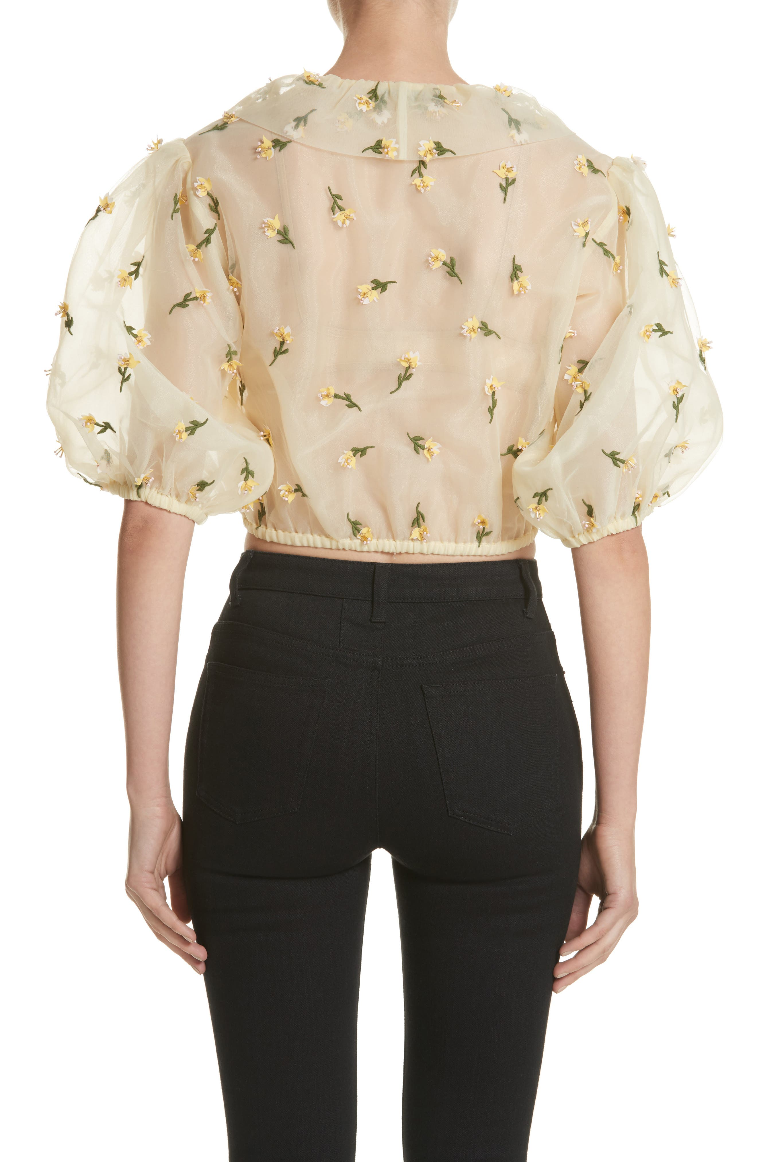 Bliss Embroidered Floral Wrap Top,                             Alternate thumbnail 2, color,                             Anise Flower