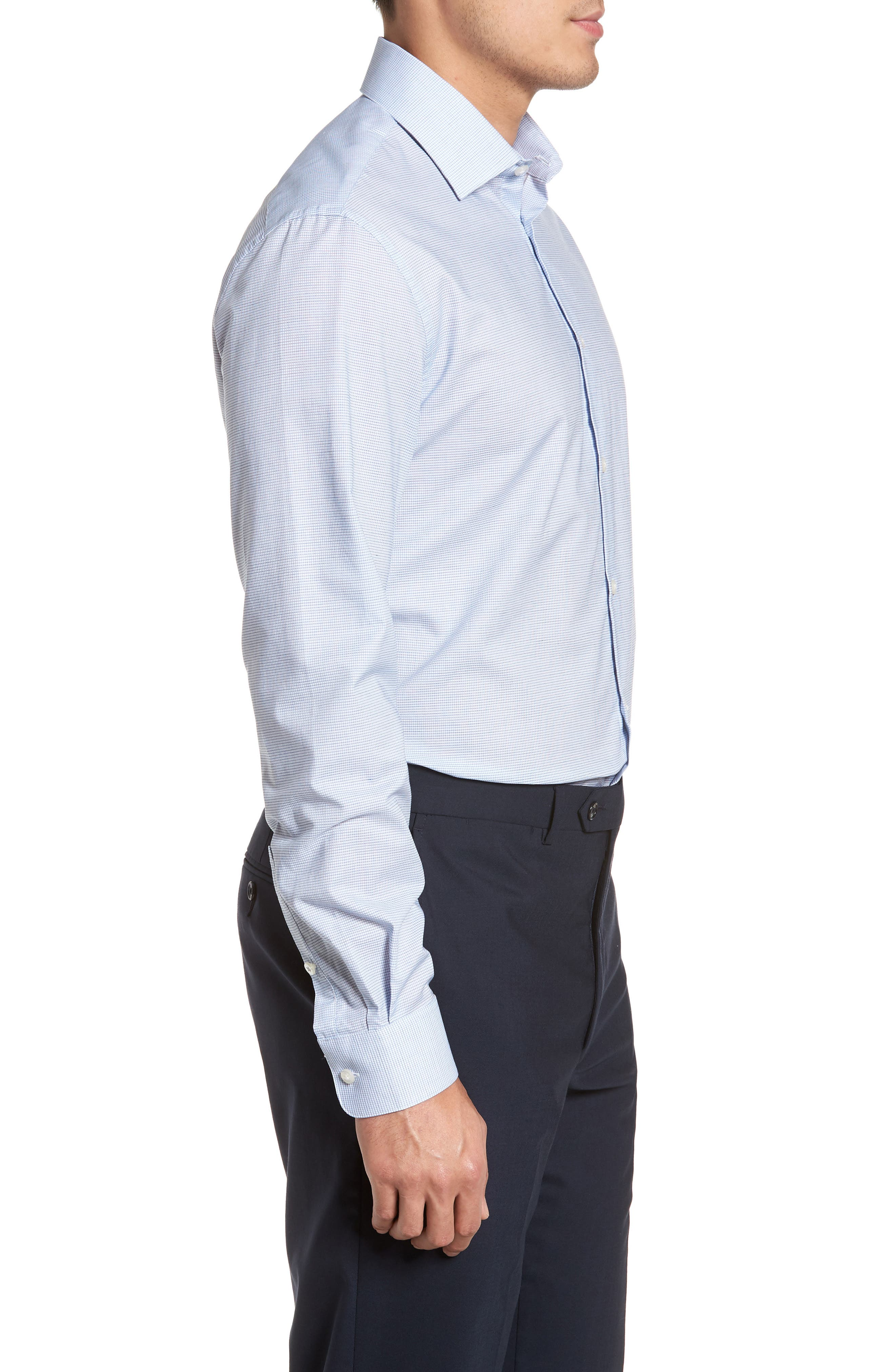 Slim Fit Stretch Microcheck Dress Shirt,                             Alternate thumbnail 4, color,                             Icicle Blue