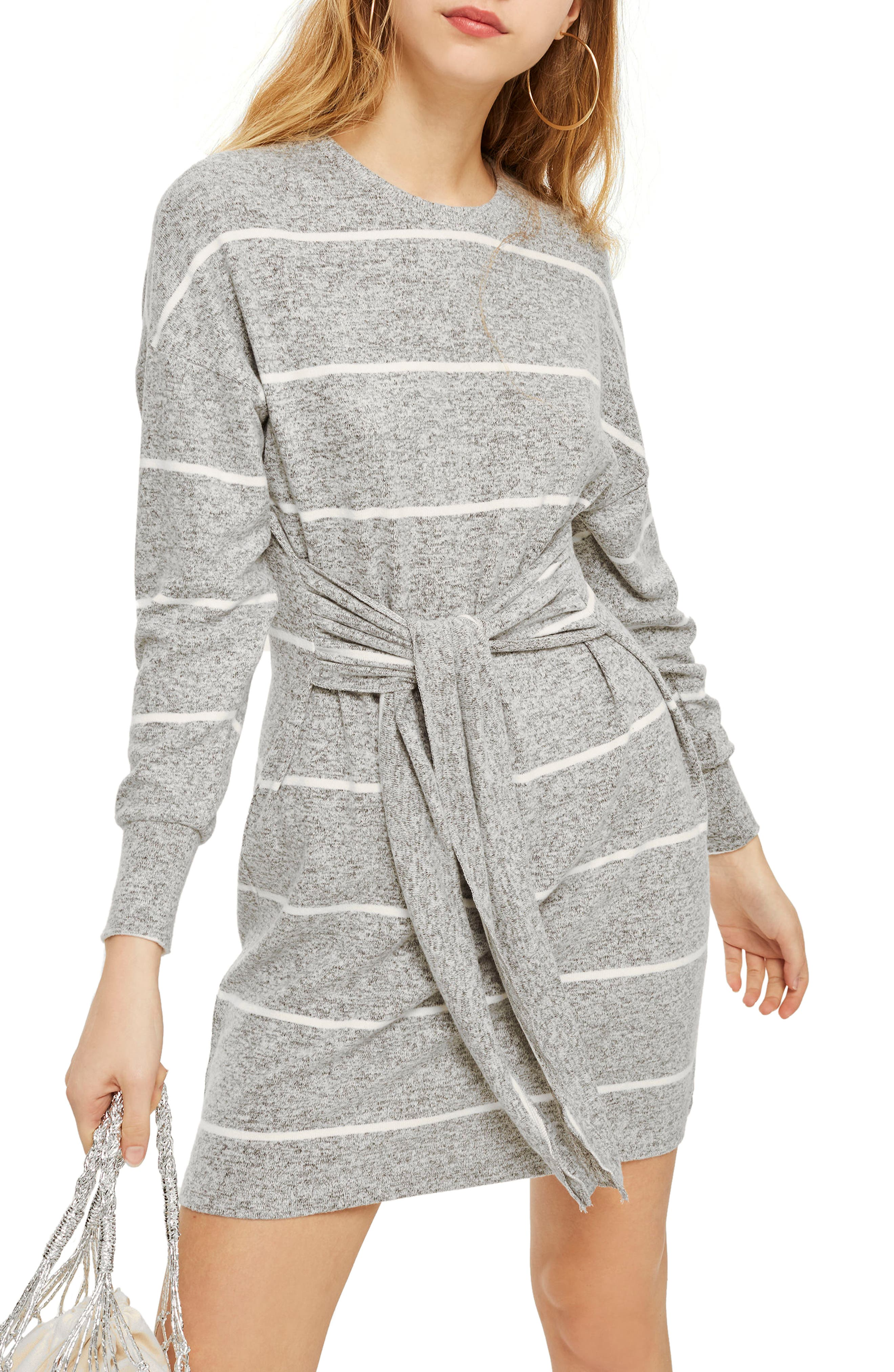 Stripe Cut & Sew Minidress,                             Main thumbnail 1, color,                             Grey Multi