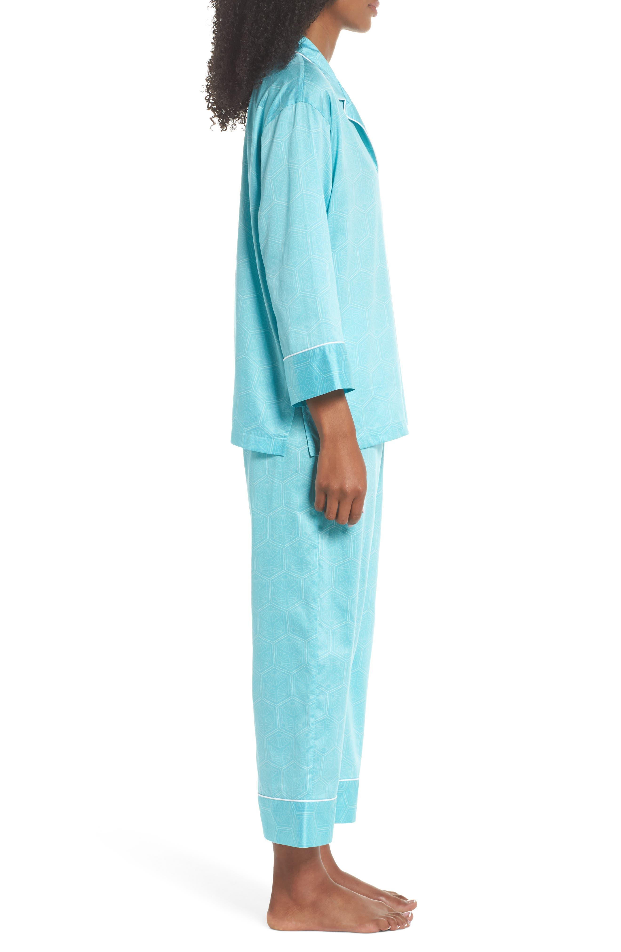 Fan Print Cotton Pajamas,                             Alternate thumbnail 3, color,                             Sea Glass