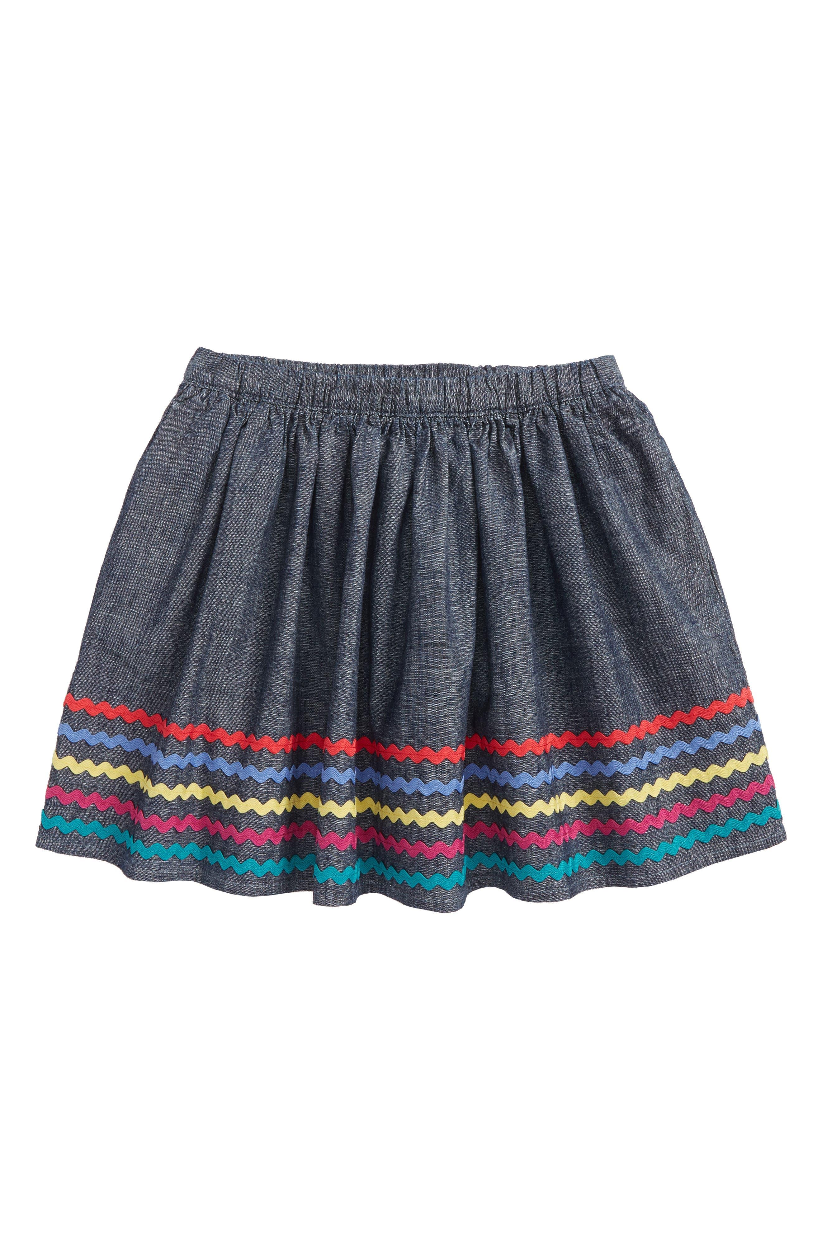 Rickrack Twirl Skirt,                         Main,                         color, Blue Chambray