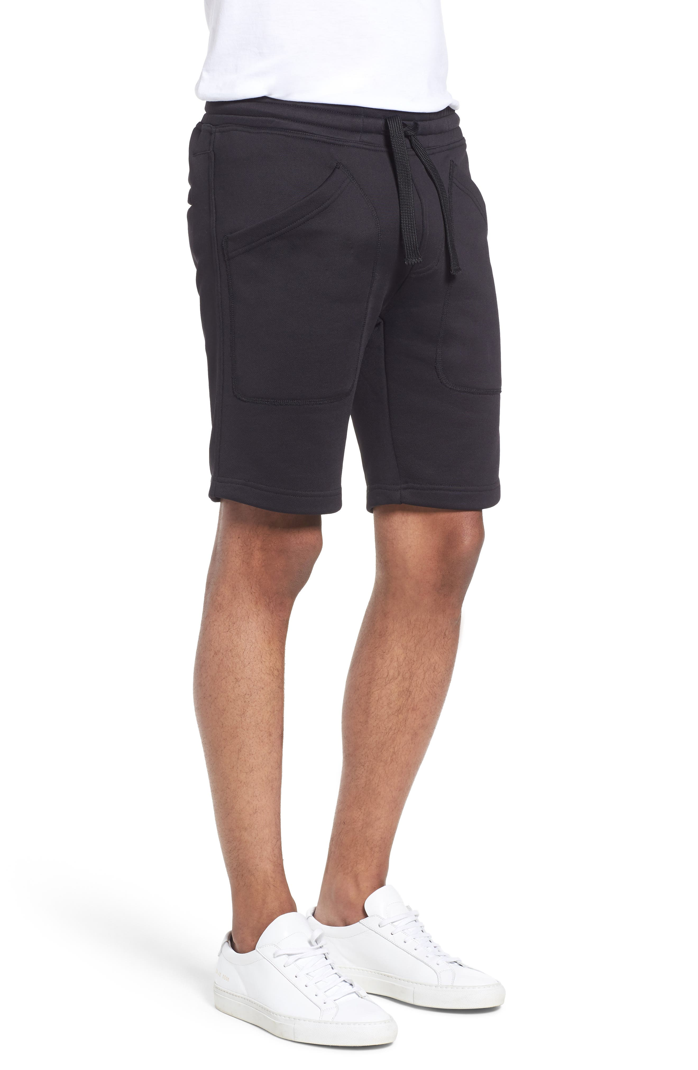 Lux French Terry Shorts,                             Alternate thumbnail 3, color,                             Navy Black