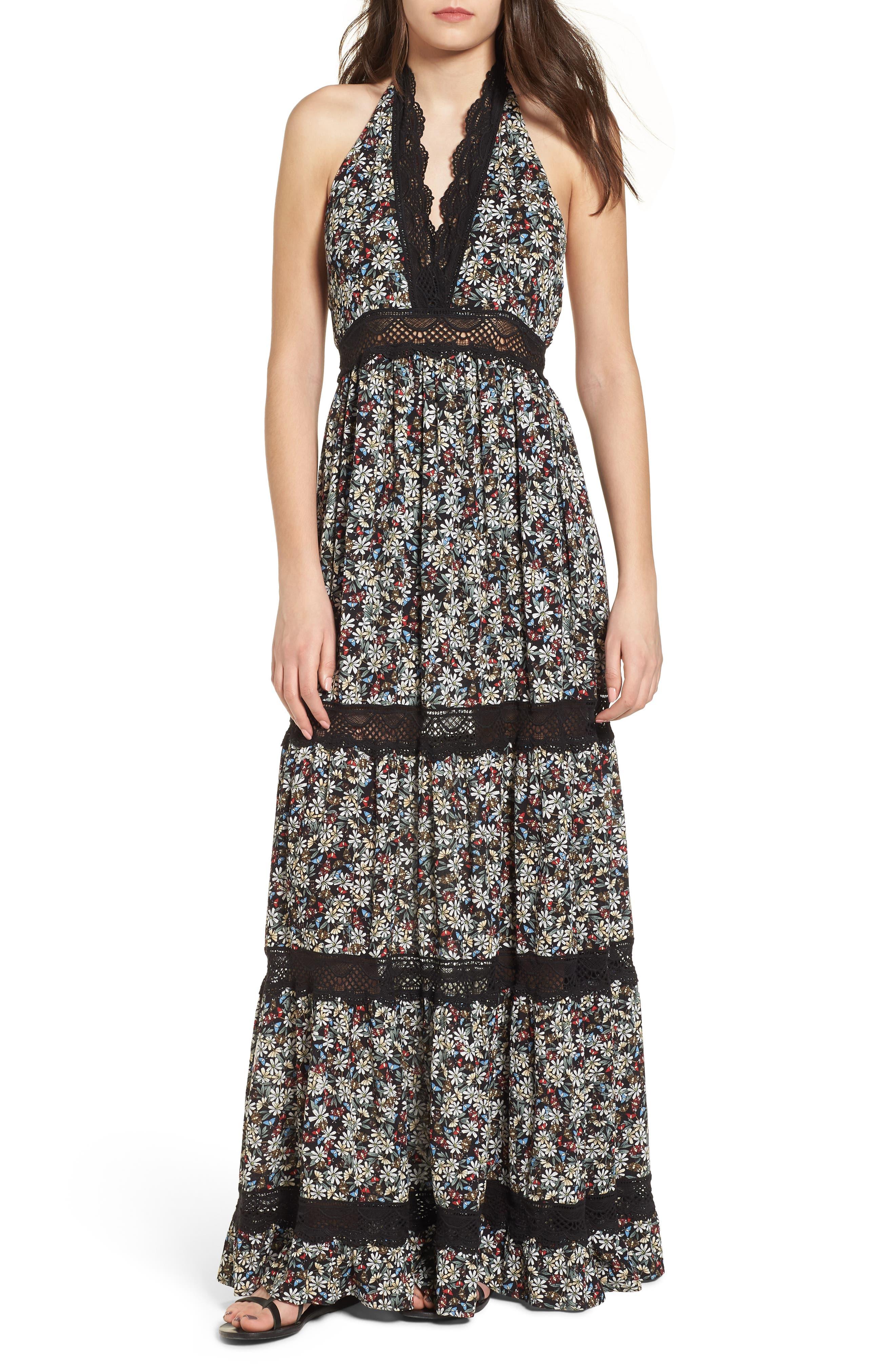 Flora Halter Neck Maxi Dress,                             Main thumbnail 1, color,                             Multi Black