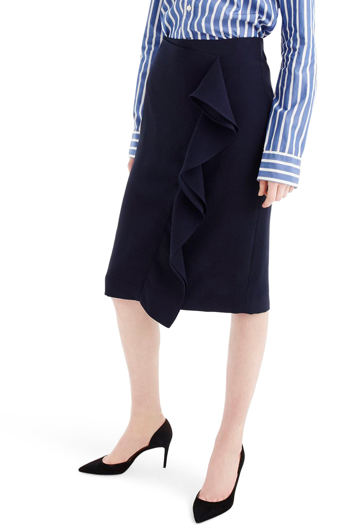 365 Crepe Ruffle Pencil Skirt,                         Main,                         color, Navy