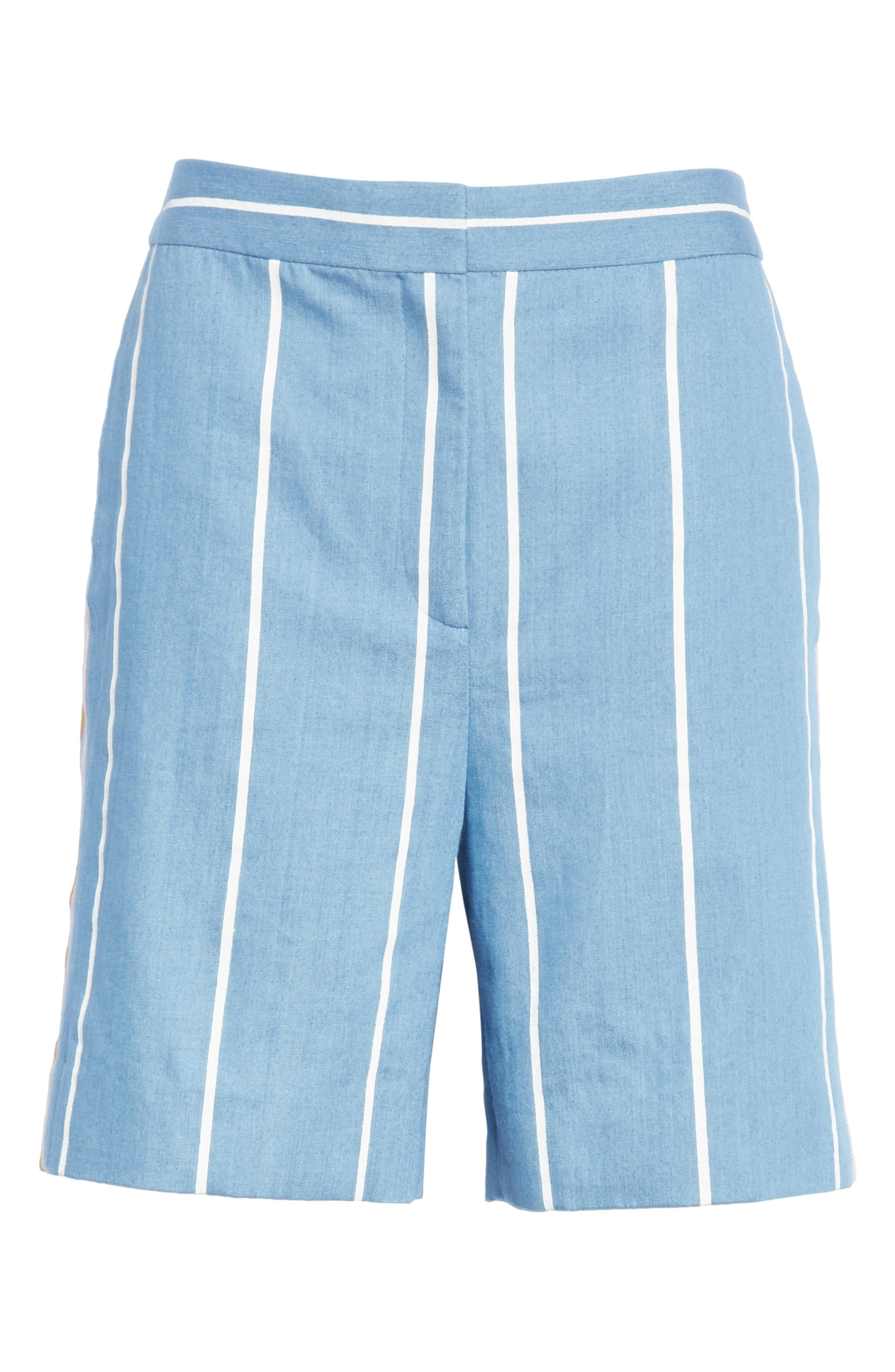 Stripe Slim Shorts,                             Alternate thumbnail 6, color,                             White Stripe