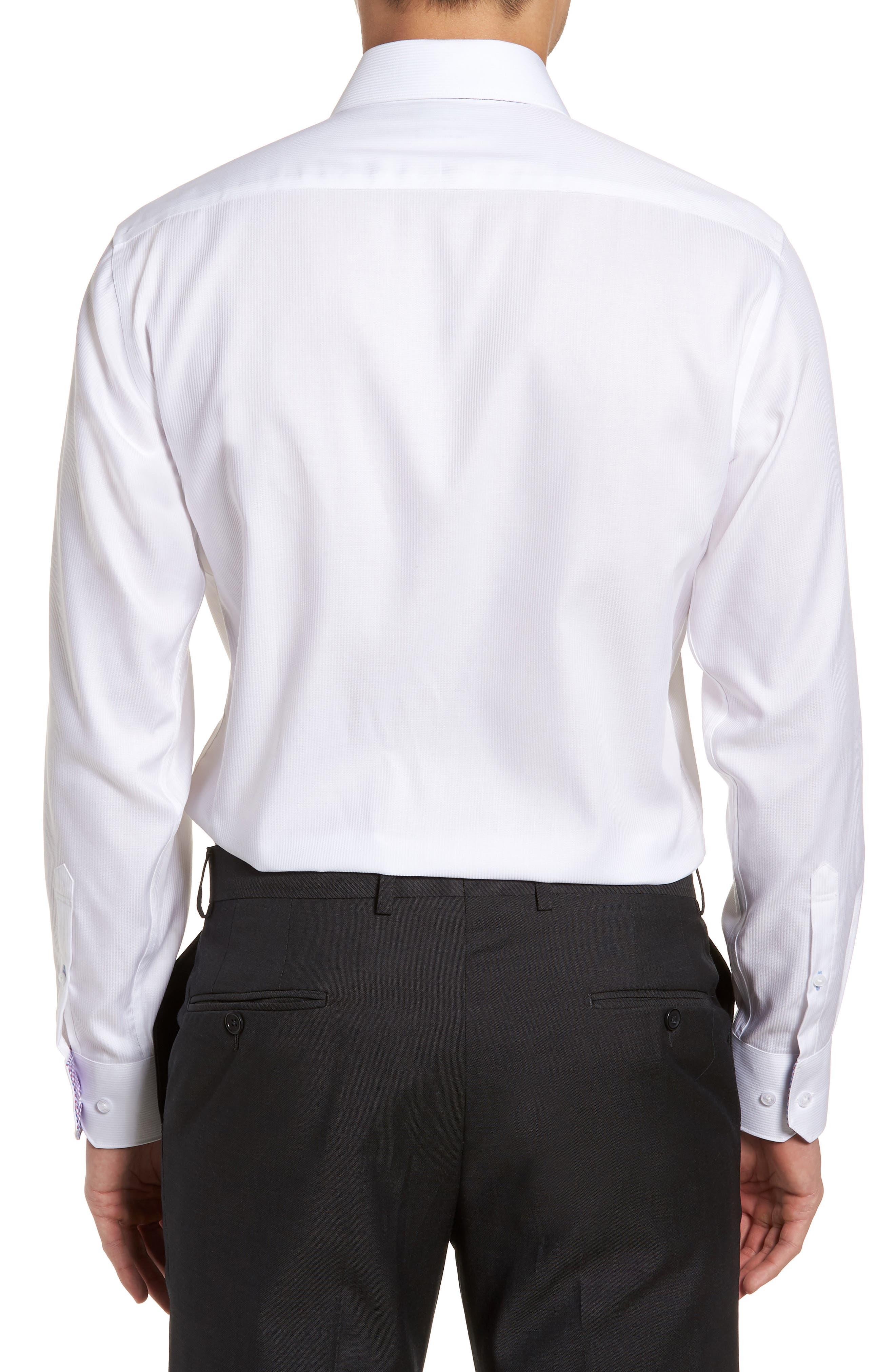 Becker Trim Fit Stripe Dress Shirt,                             Alternate thumbnail 3, color,                             White