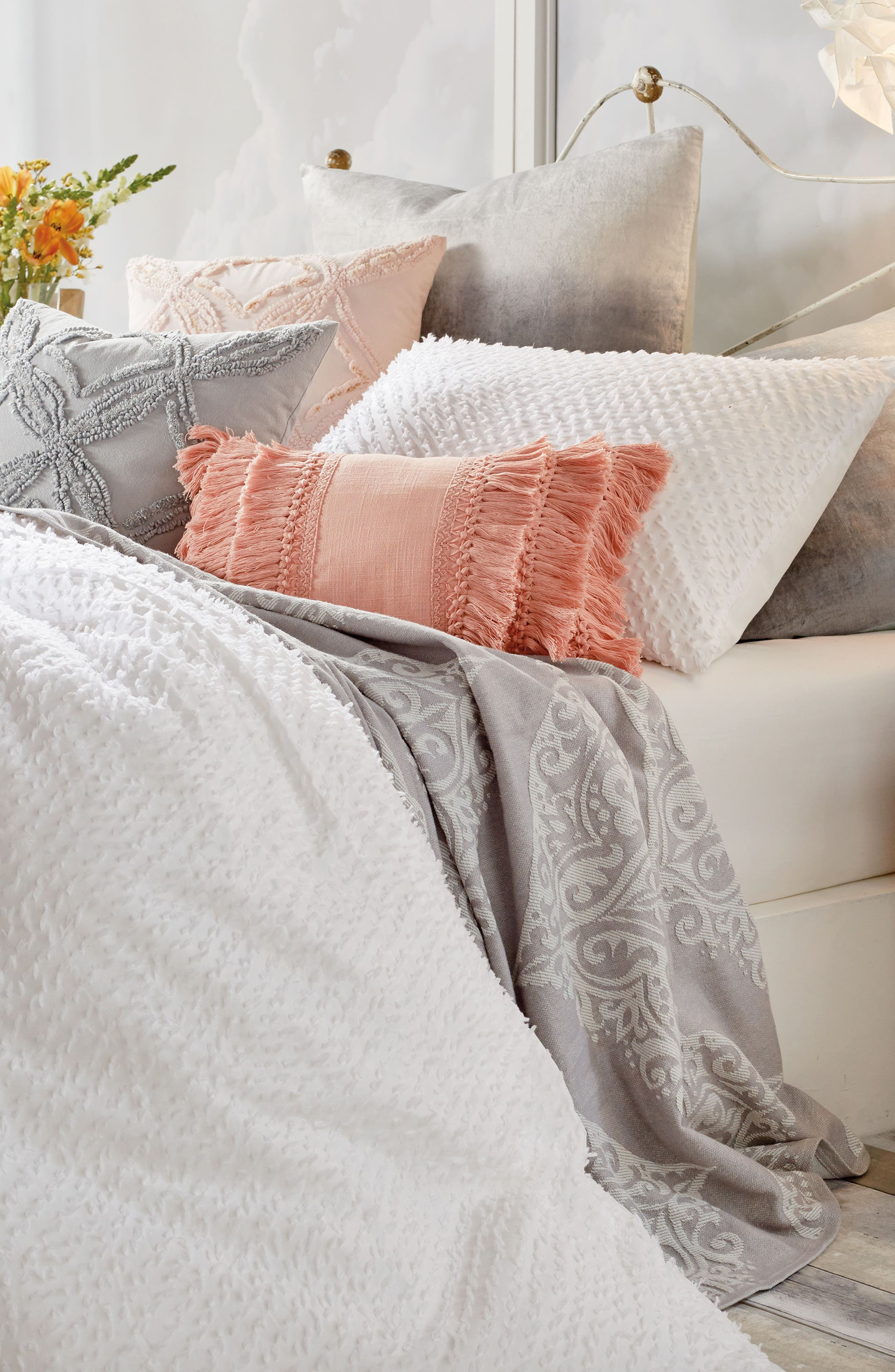 Dot Fringe Comforter & Sham Set,                             Alternate thumbnail 2, color,                             White