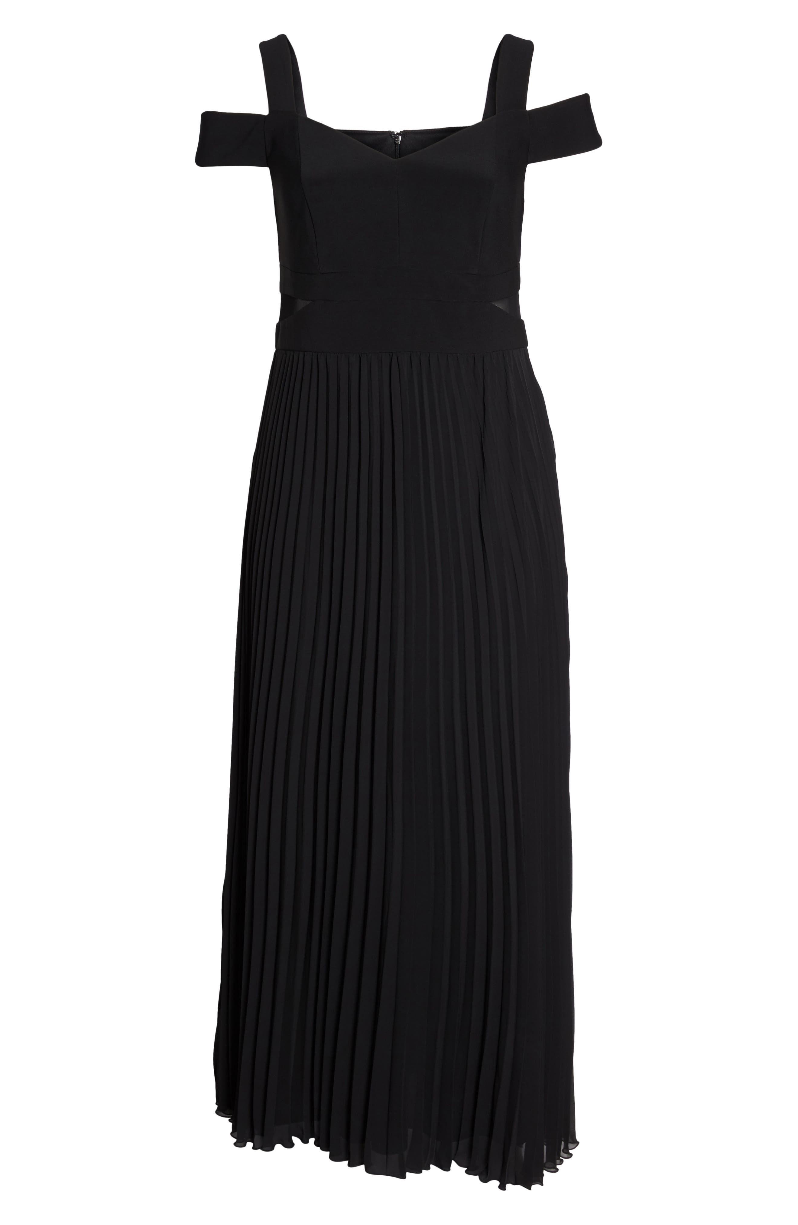 Pleated Cold Shoulder Gown,                             Alternate thumbnail 6, color,                             Black