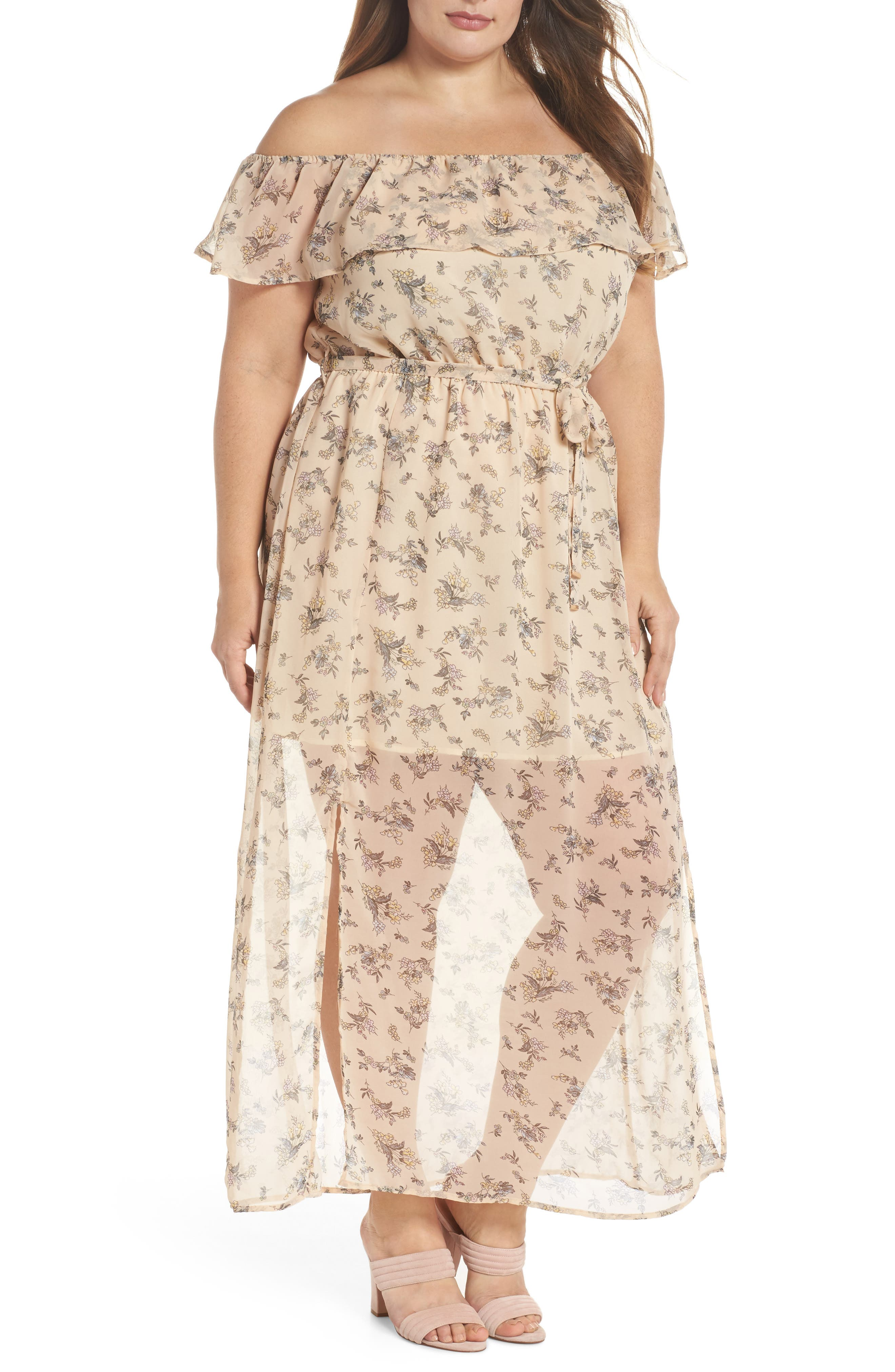 Print Off-the-Shoulder Maxi Dress,                             Main thumbnail 1, color,                             Nude Blush Floral