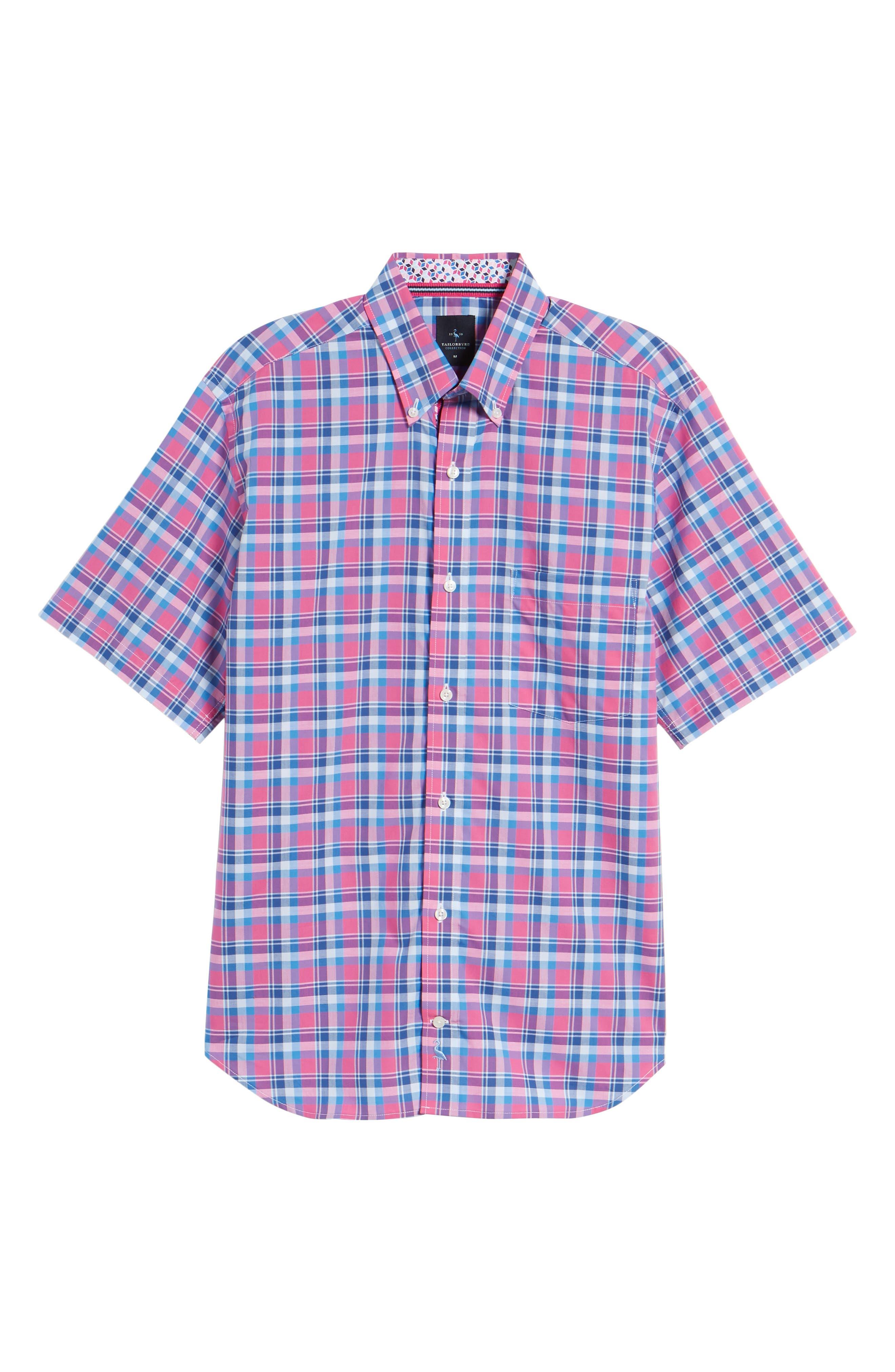 Sloane Regular Fit Plaid Sport Shirt,                             Alternate thumbnail 6, color,                             Pink