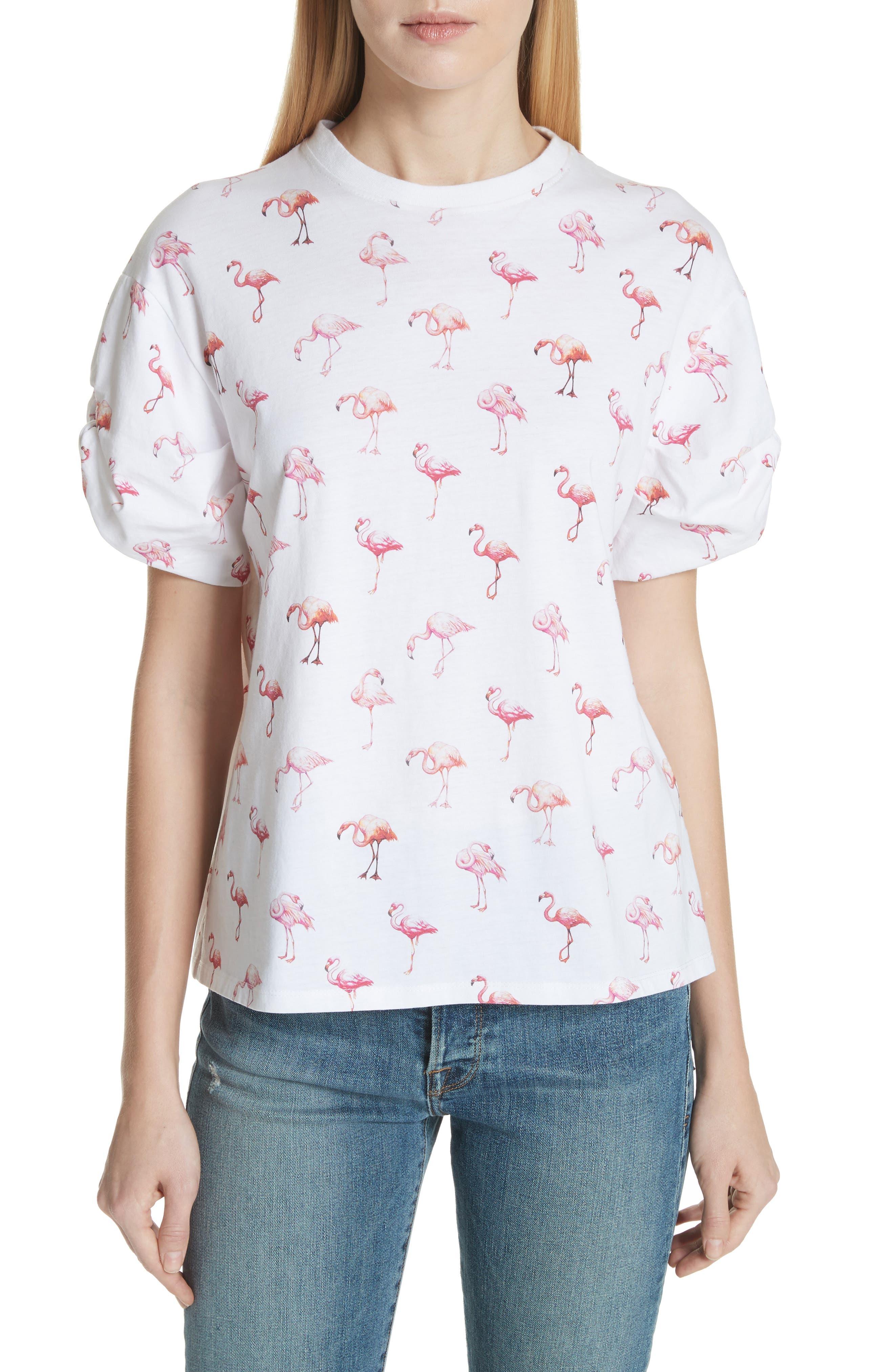 Victoria, Victoria Beckham Puff Sleeve Flamingo Print Tee