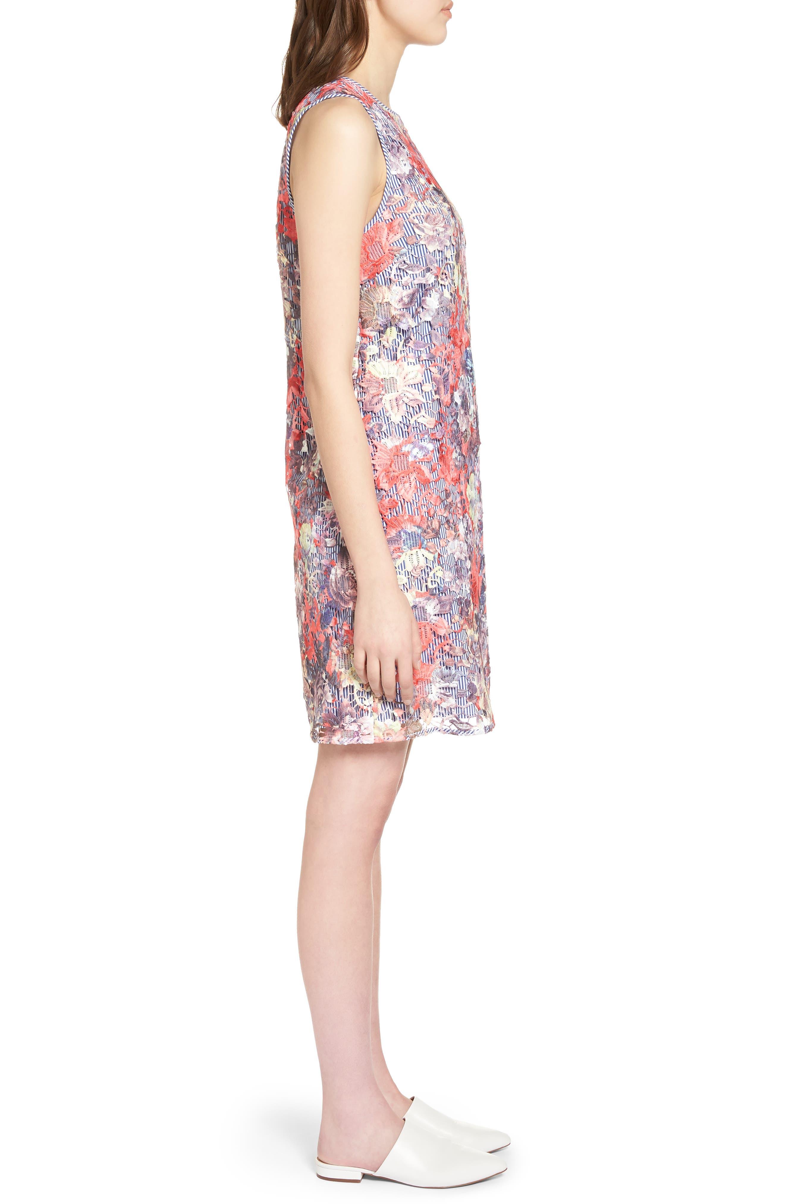 Lace Pinstripe Tank Dress,                             Alternate thumbnail 3, color,                             Coral Lace Pattern