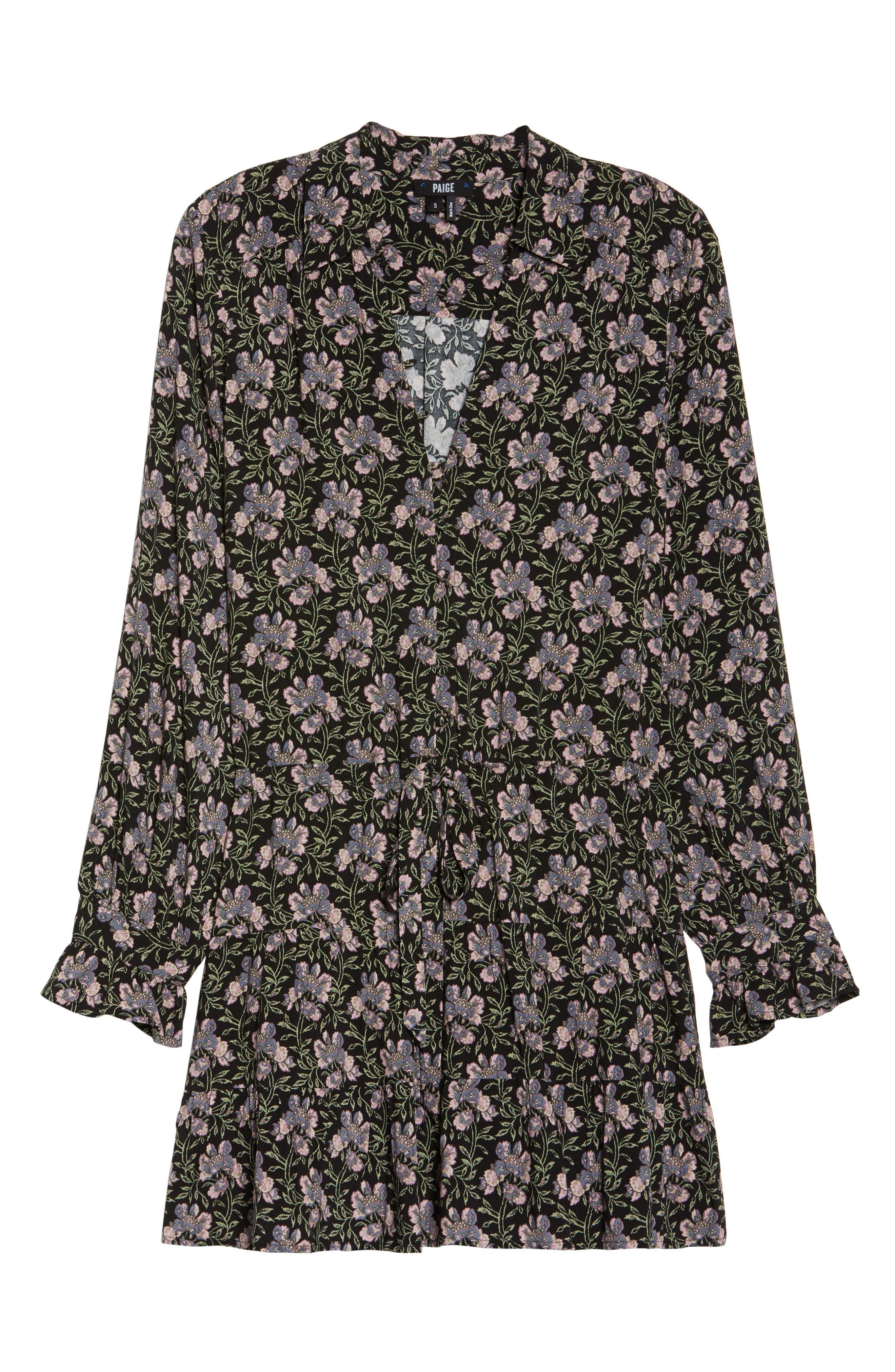 Denisa Floral Tie Cuff Minidress,                             Alternate thumbnail 6, color,                             Storm Cloud Multi