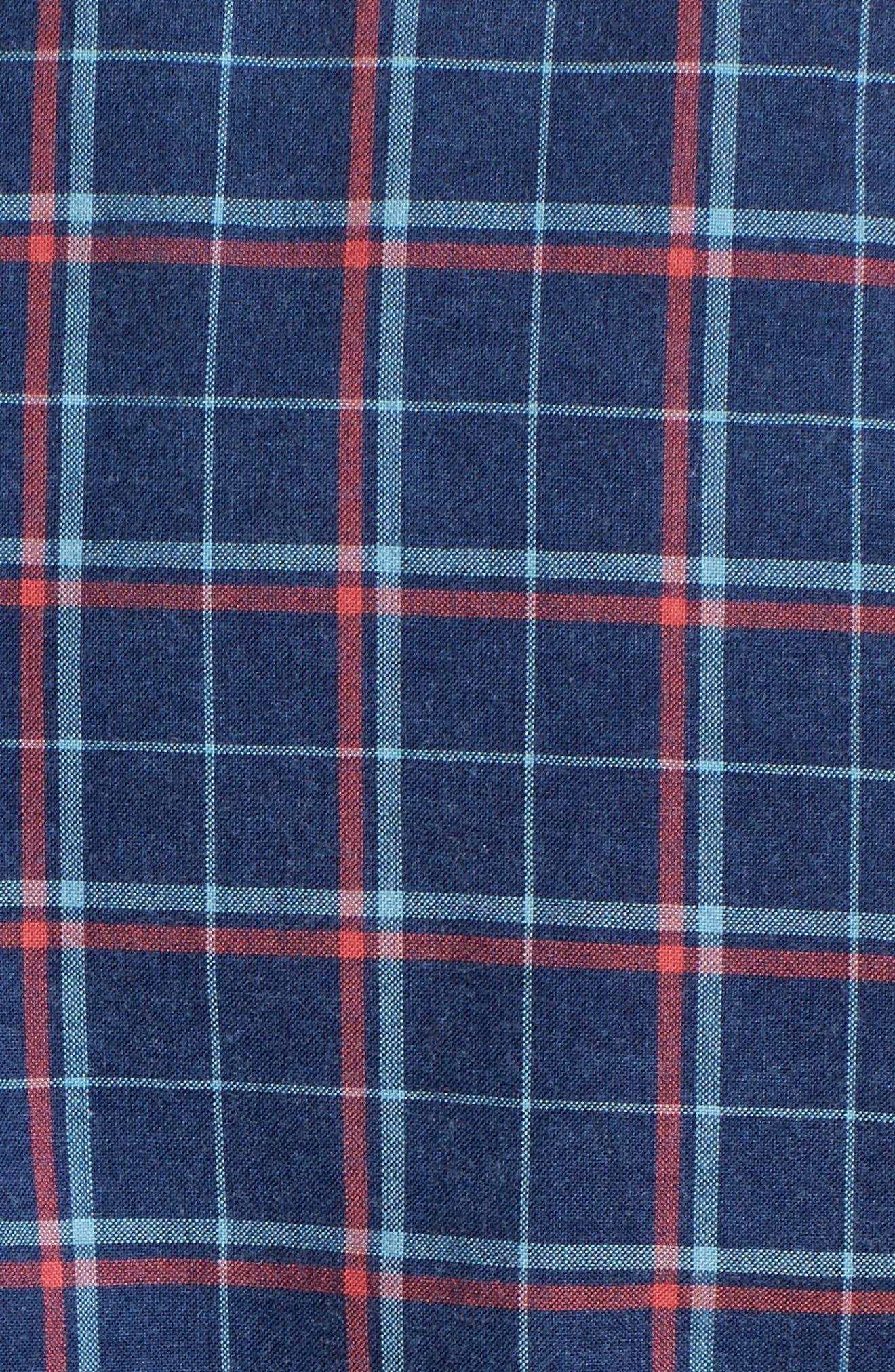 Ventura Plaid Sport Shirt,                             Alternate thumbnail 5, color,                             Dark Indigo Multi