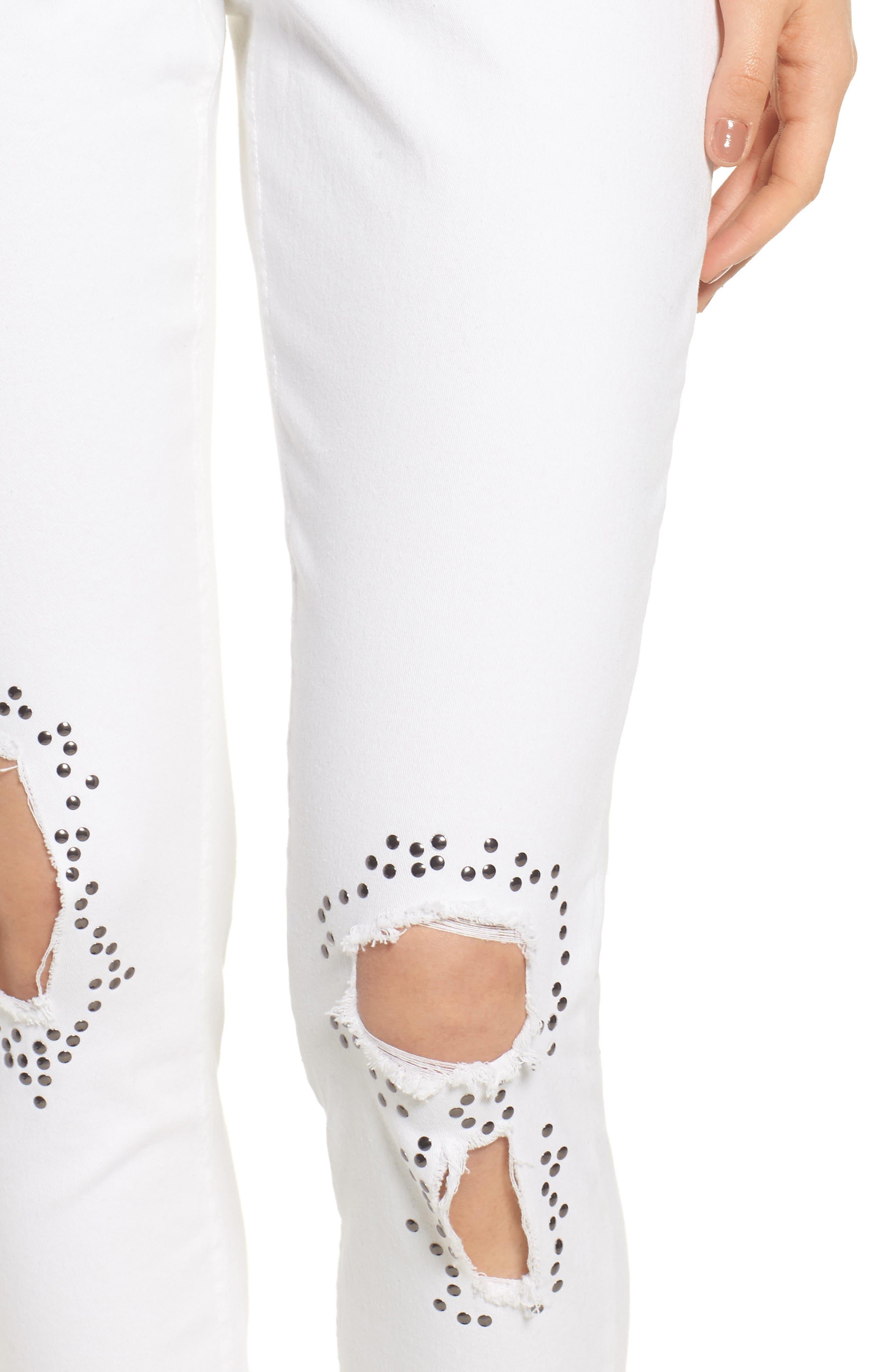 Ripped Denim Leggings,                             Alternate thumbnail 4, color,                             White
