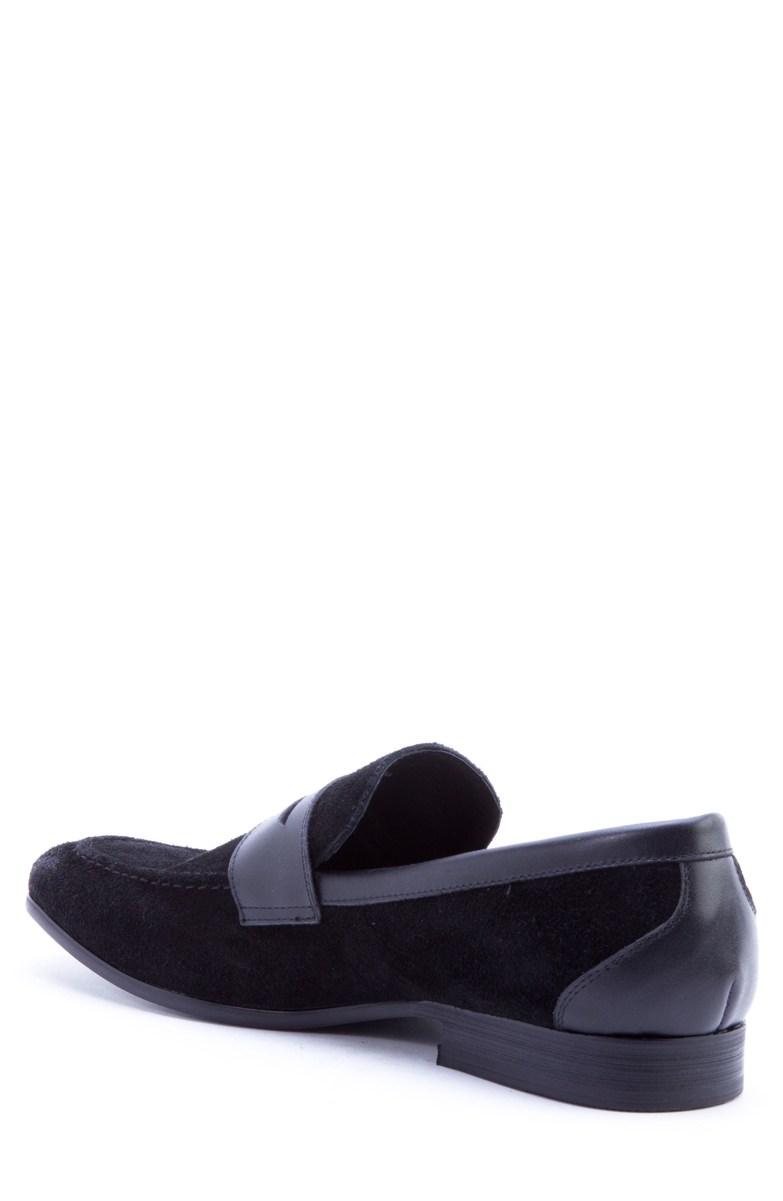 Siena Penny Loafer,                             Alternate thumbnail 2, color,                             Black Suede/ Leather