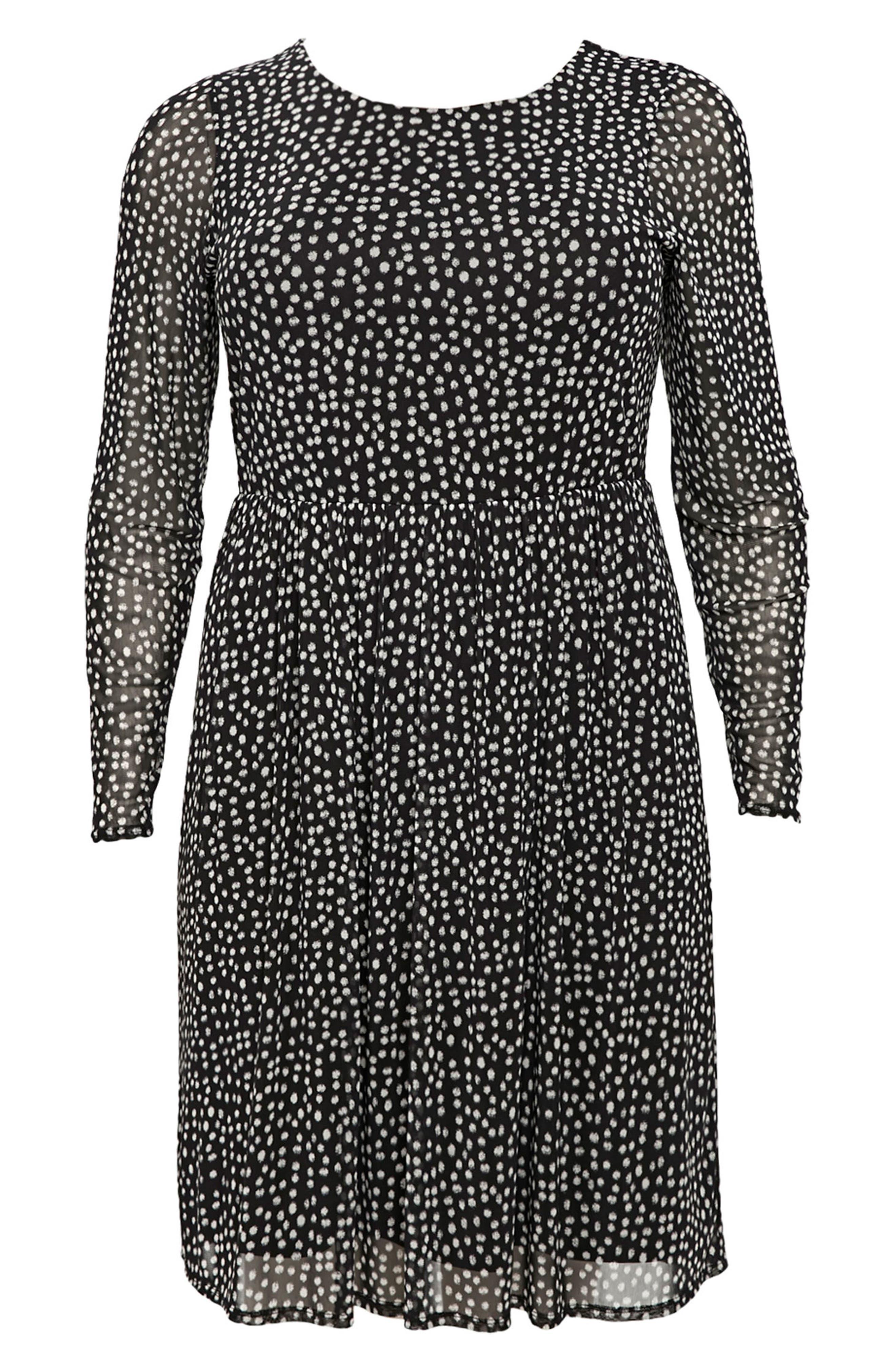 Smudge Print Fit & Flare Dress,                             Alternate thumbnail 4, color,                             Black