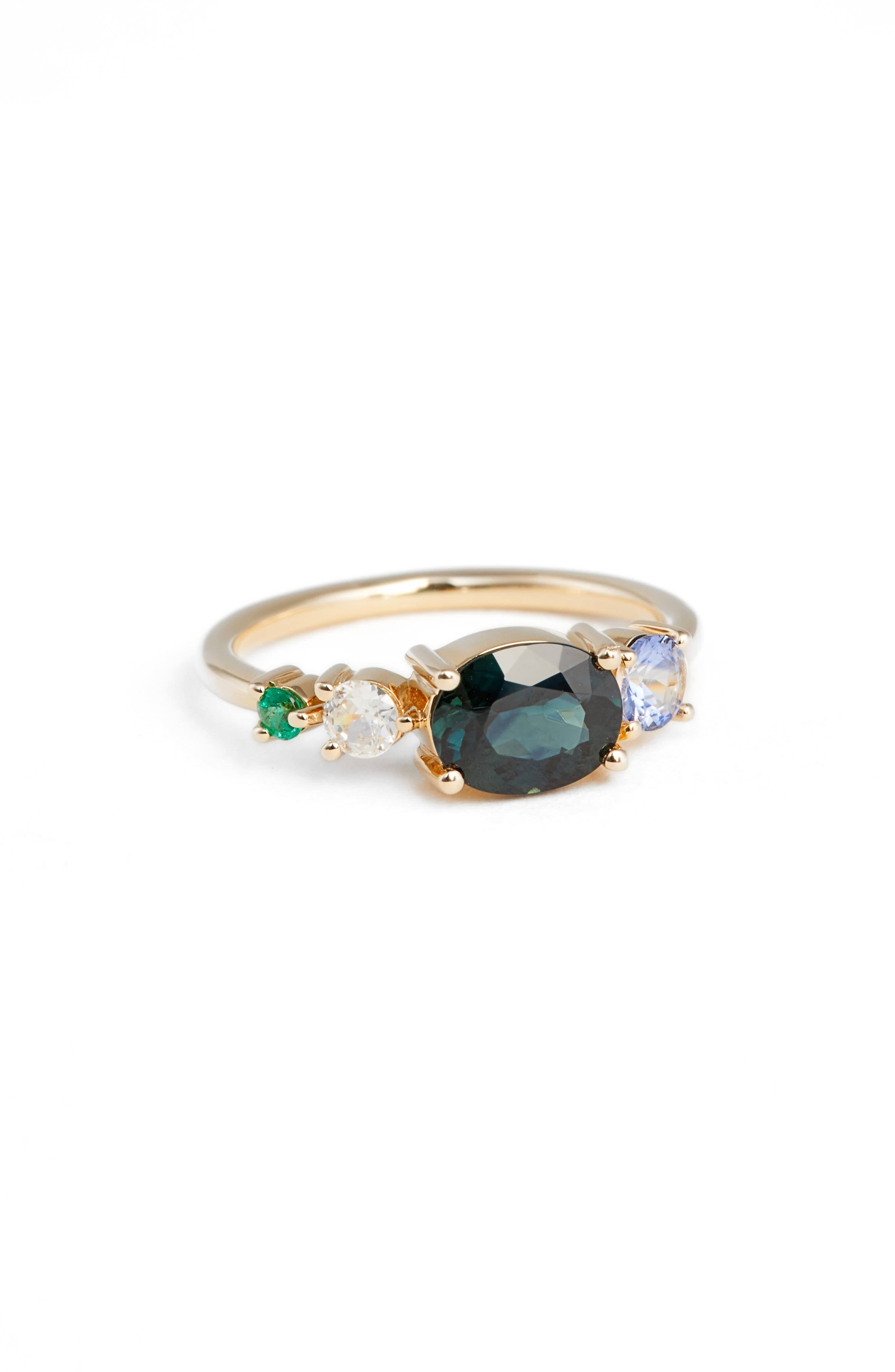 Sapphire, Diamond & Emerald Ring,                         Main,                         color, Yellow Gold