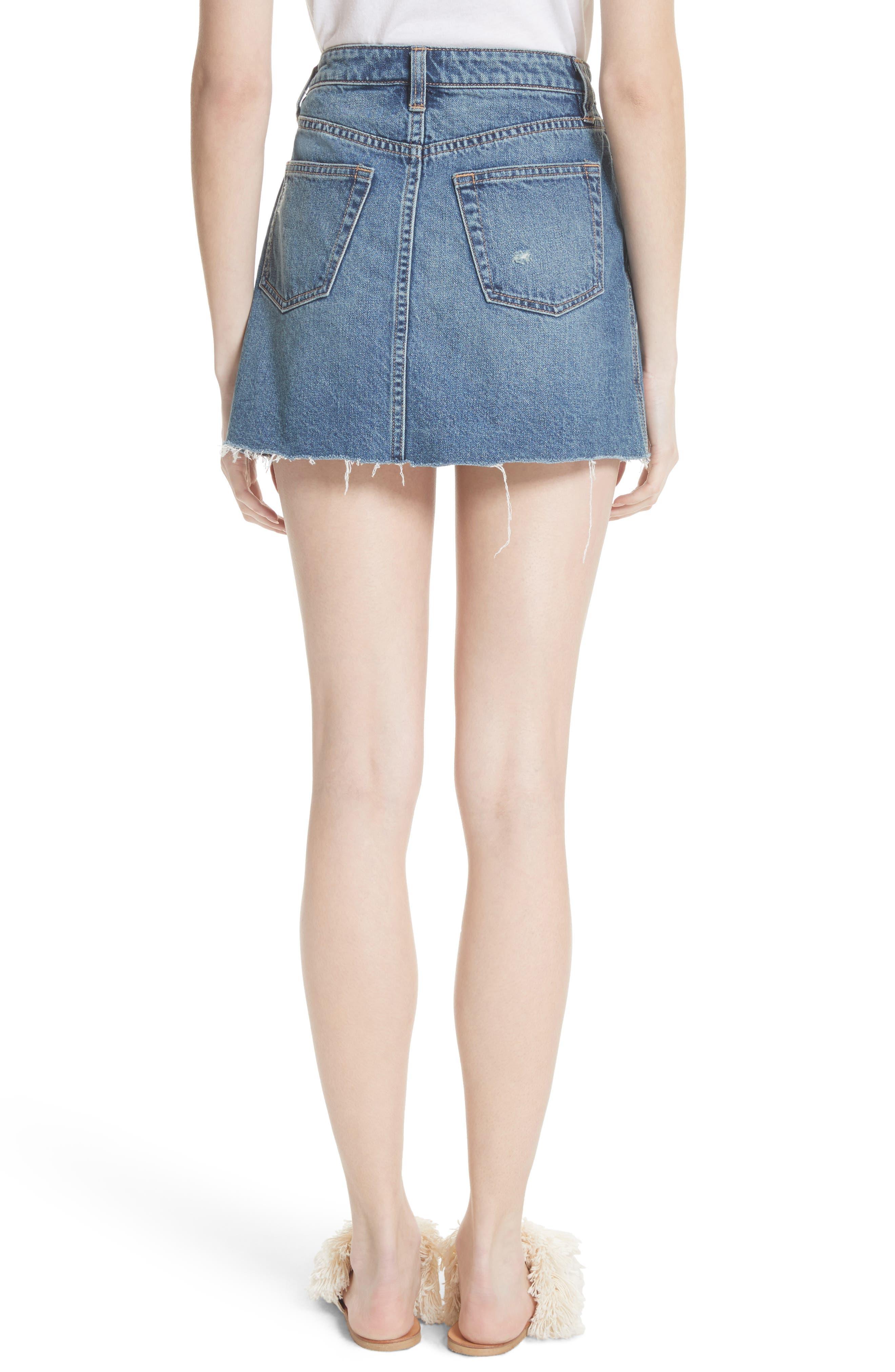 A-Line Denim Skirt,                             Alternate thumbnail 2, color,                             Blue