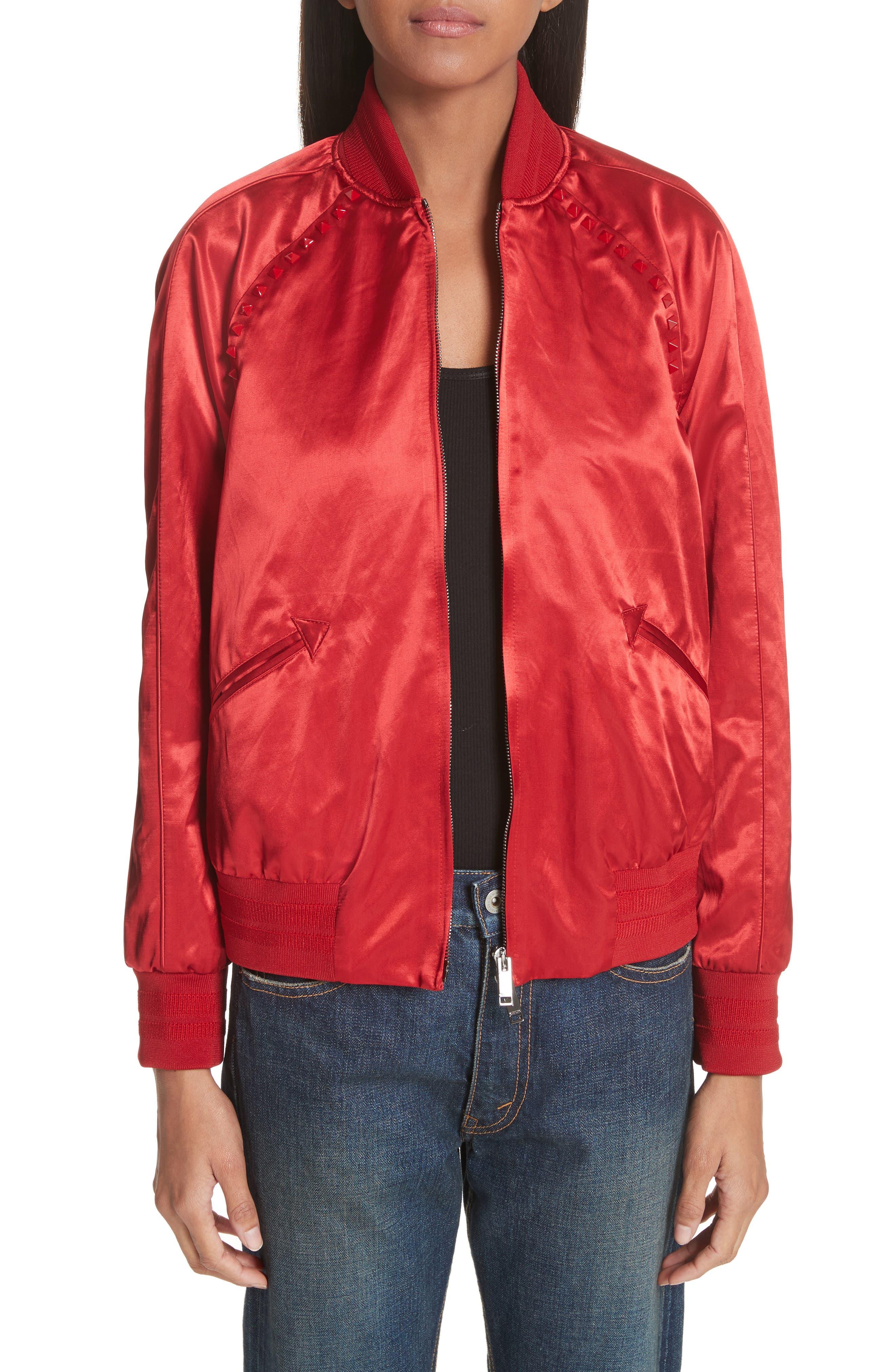 Rockstud Satin Bomber Jacket,                         Main,                         color, Red