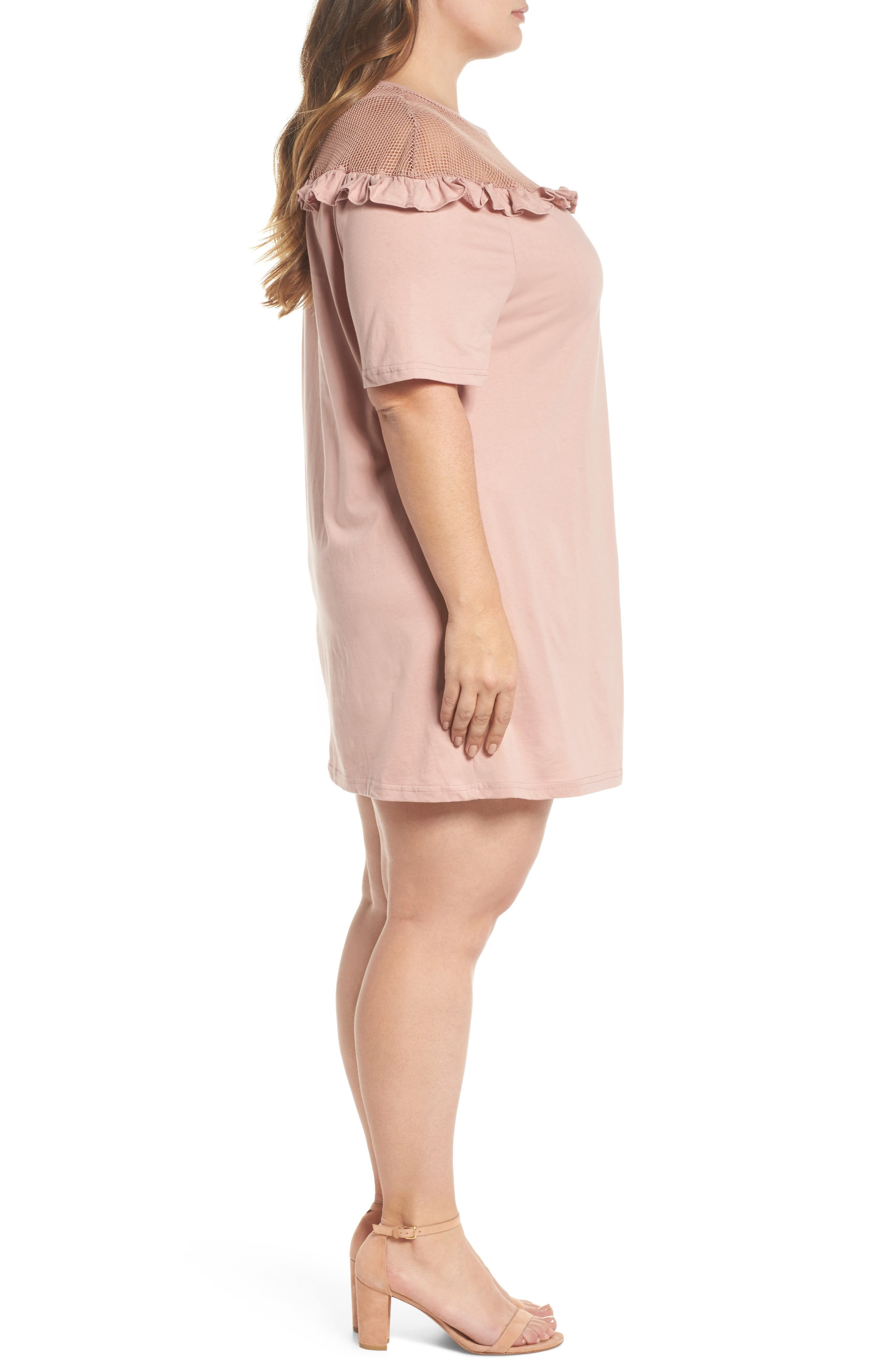 Illusion Neck Shift Dress,                             Alternate thumbnail 3, color,                             Dusty Pink
