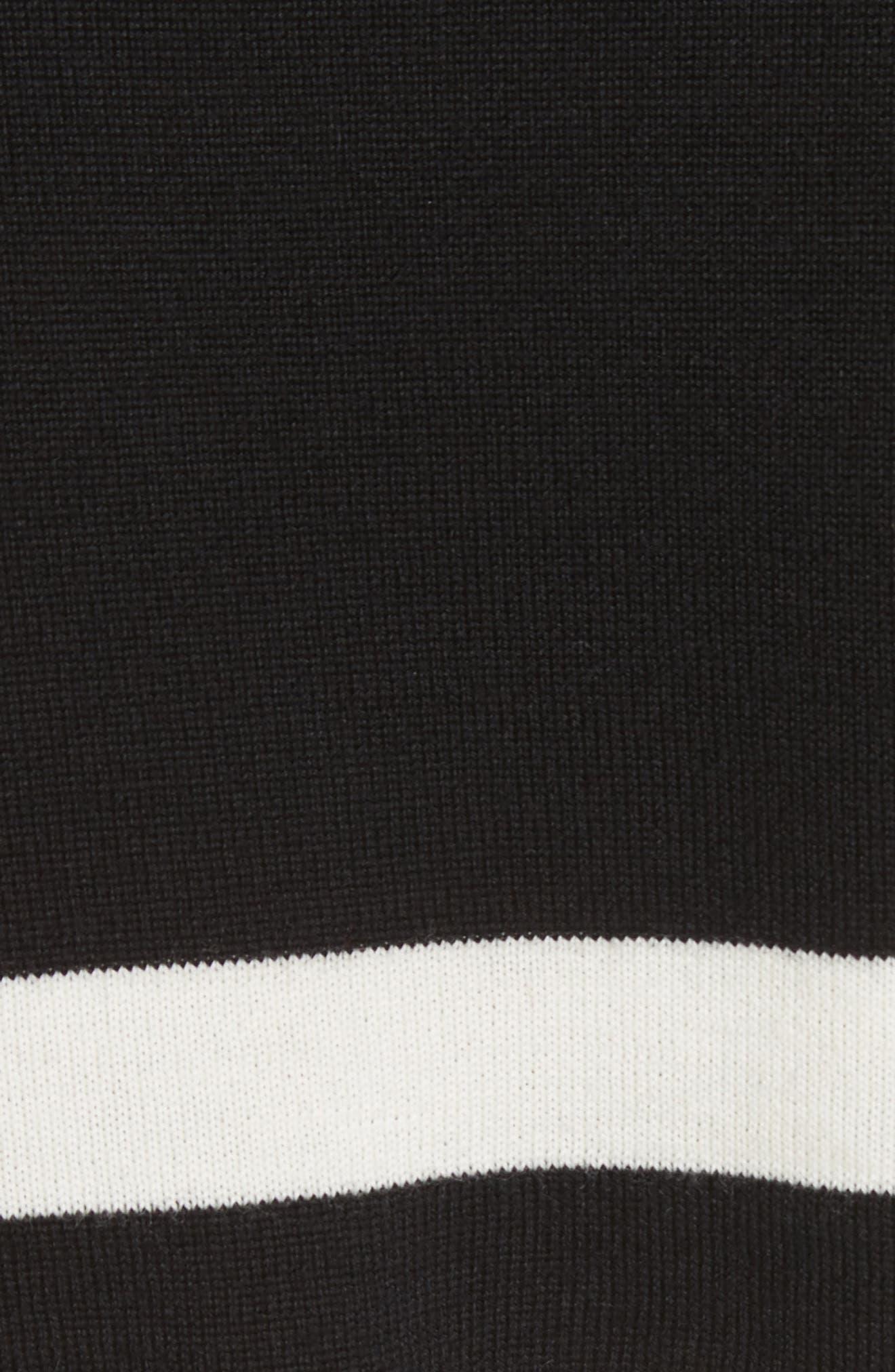 Love Stripe Crop Wool Sweater,                             Alternate thumbnail 5, color,                             Black/ White