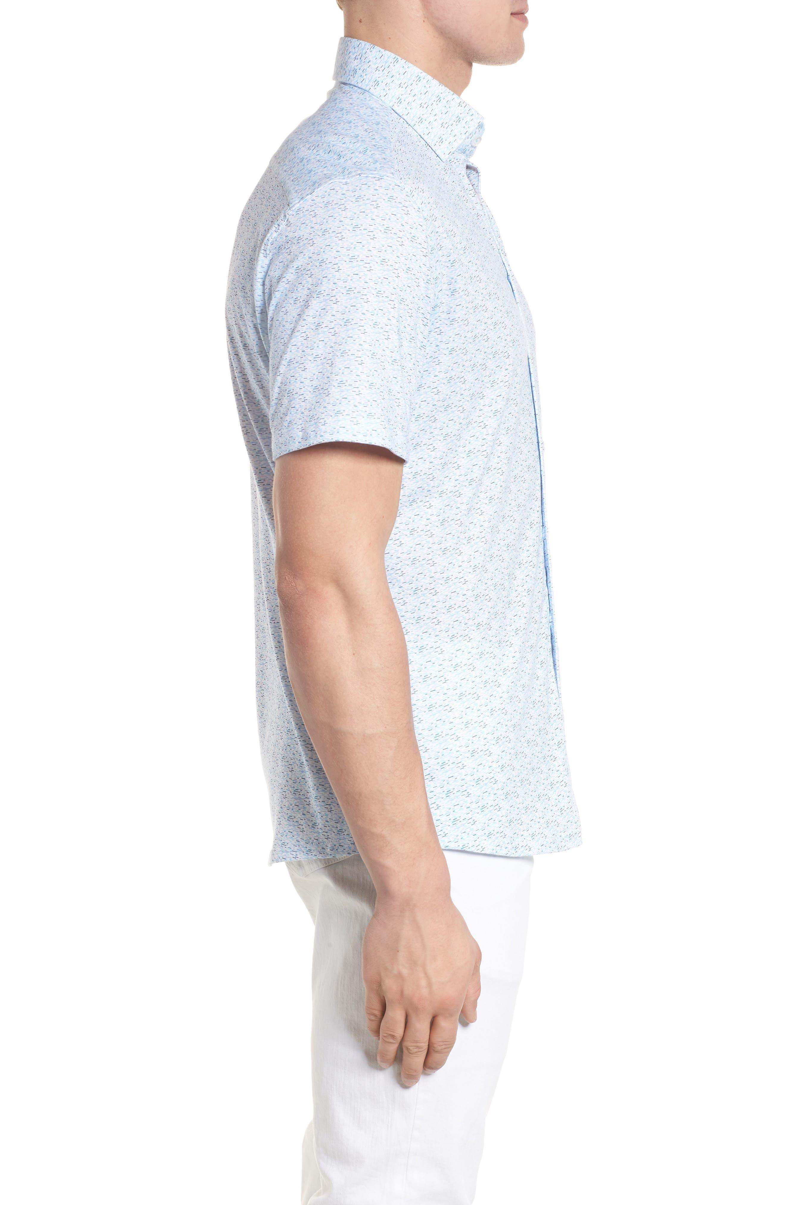 Knit Sport Shirt,                             Alternate thumbnail 3, color,                             Blue