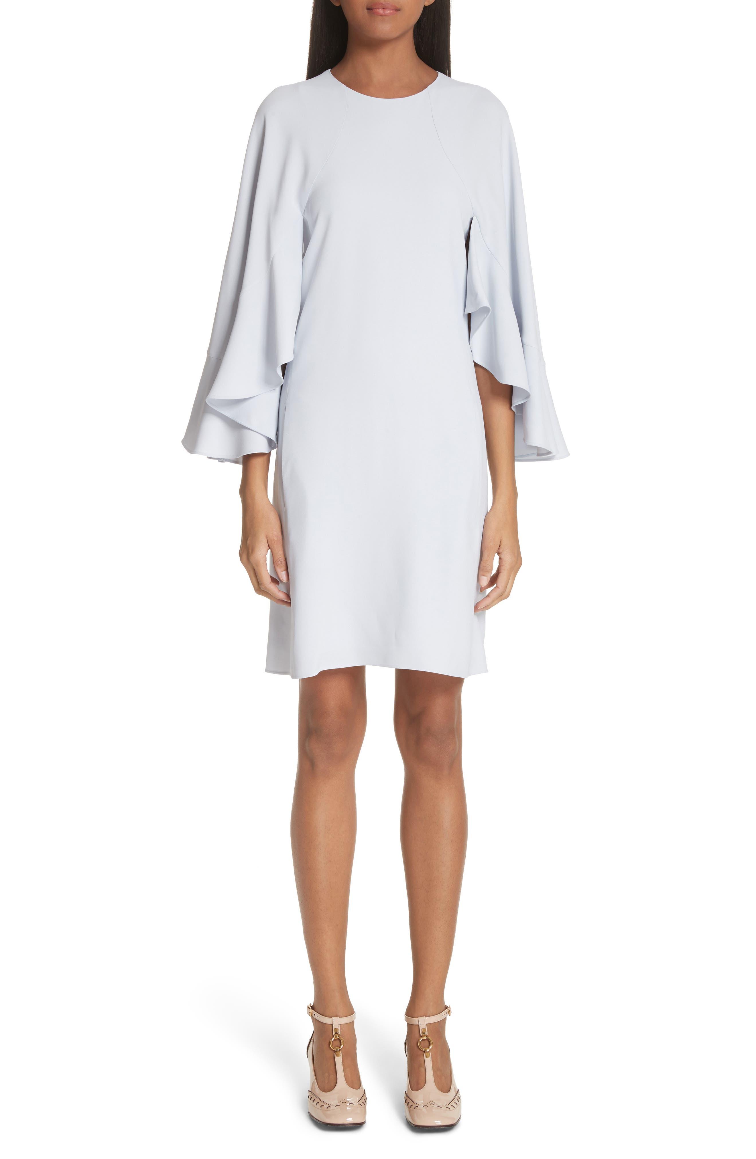 Flutter Sleece Cady Shift Dress,                         Main,                         color, Cute Blue