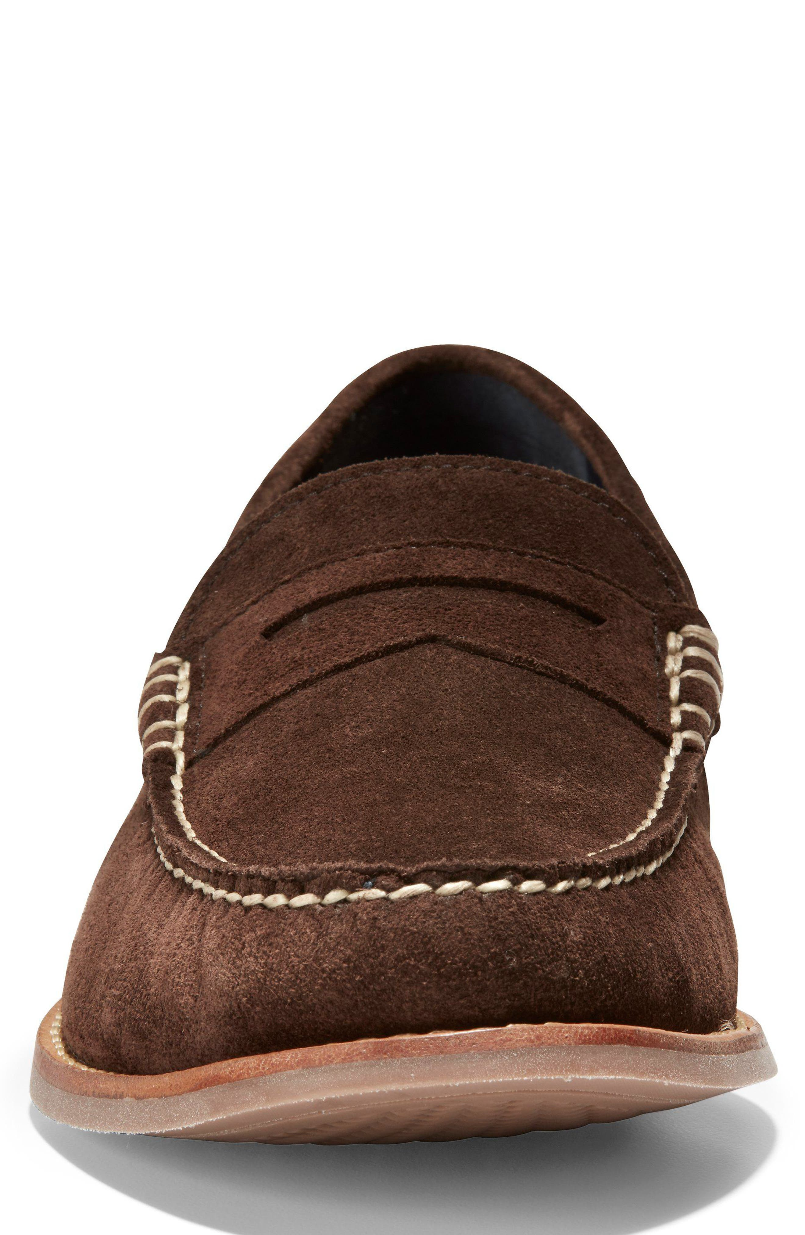 'Pinch Grand' Penny Loafer,                             Alternate thumbnail 4, color,                             Brown Suede